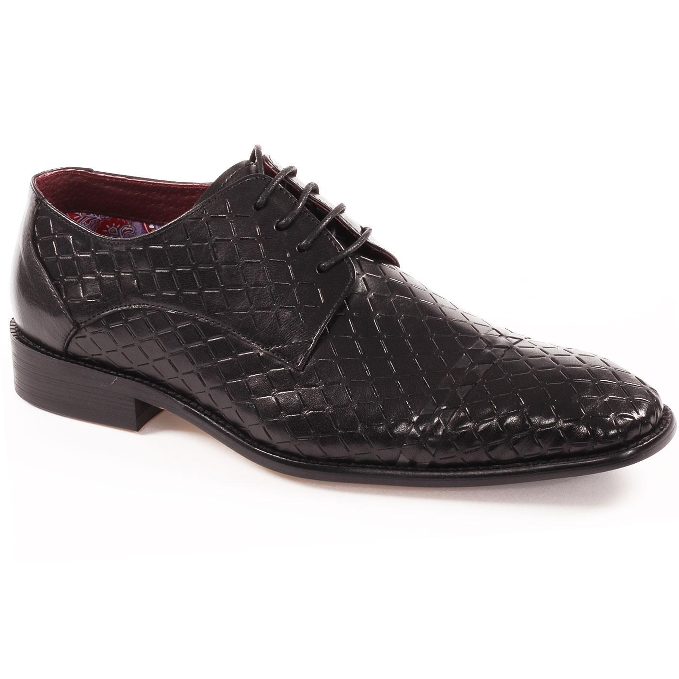 Enoch PAOLO VANDINI Diamond Weave Derby Shoes (B)