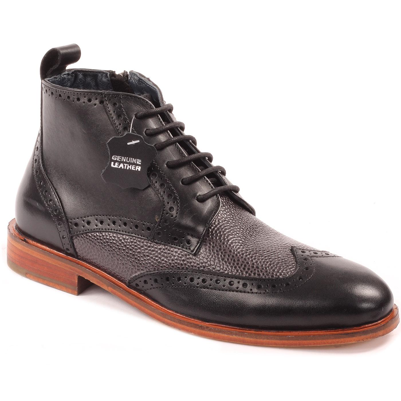 Eros PAOLO VANDINI Mod Side Zip Brogue Boots (B)