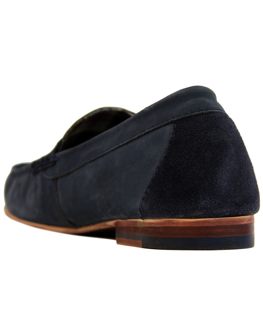 7acd3aa5498 PAOLO VANDINI Rushil Retro 1960s Mod Nubuck Penny Loafers in Navy