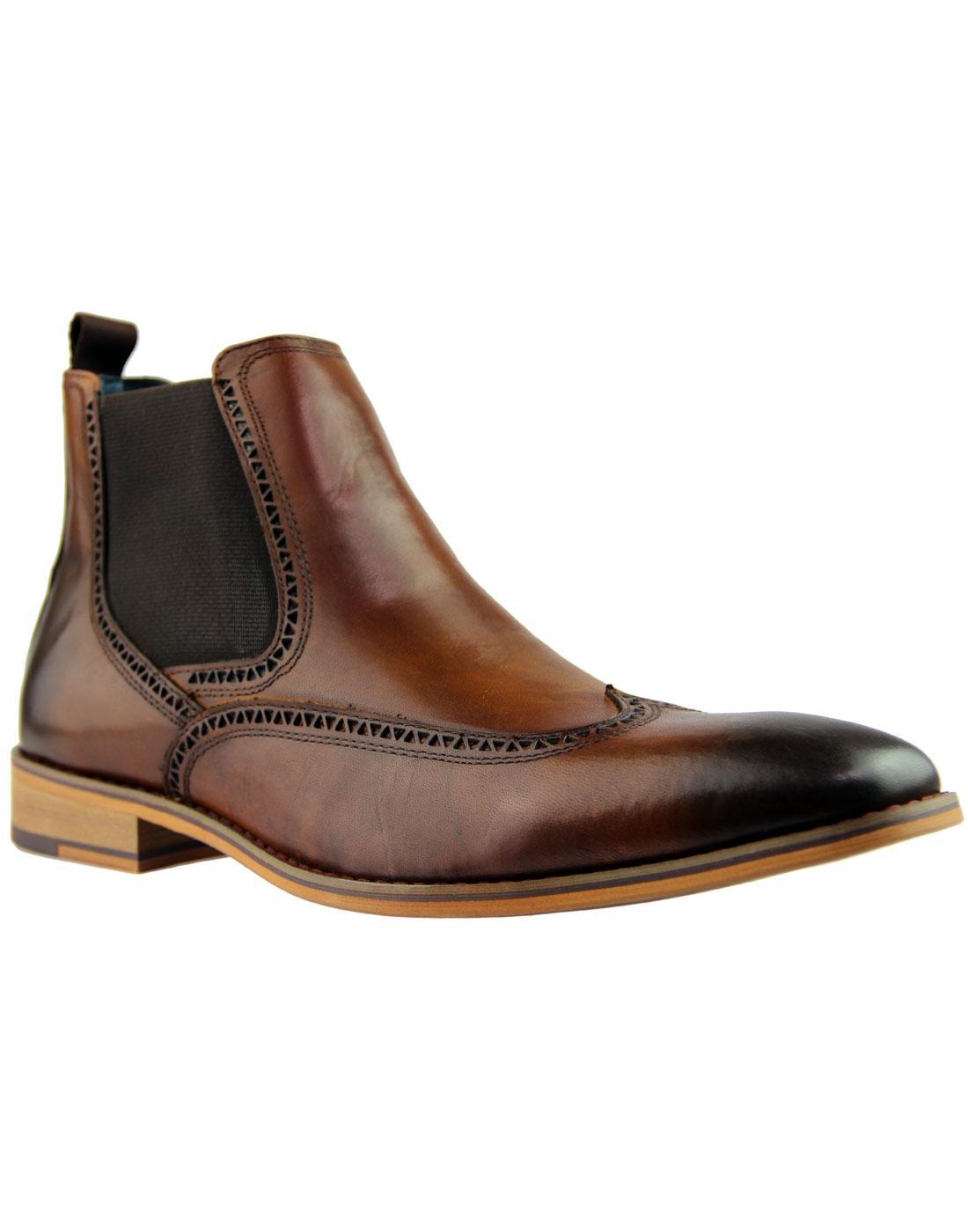 Talman PAOLO VANDINI 60s Mod Brogue Chelsea Boots