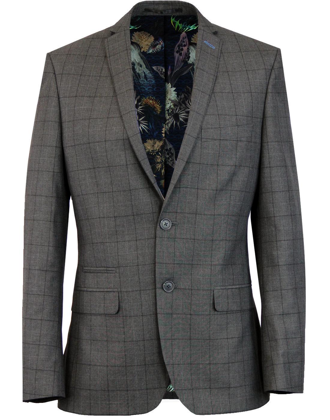 Retro Mod Windowpane Check 2 Button Suit Jacket
