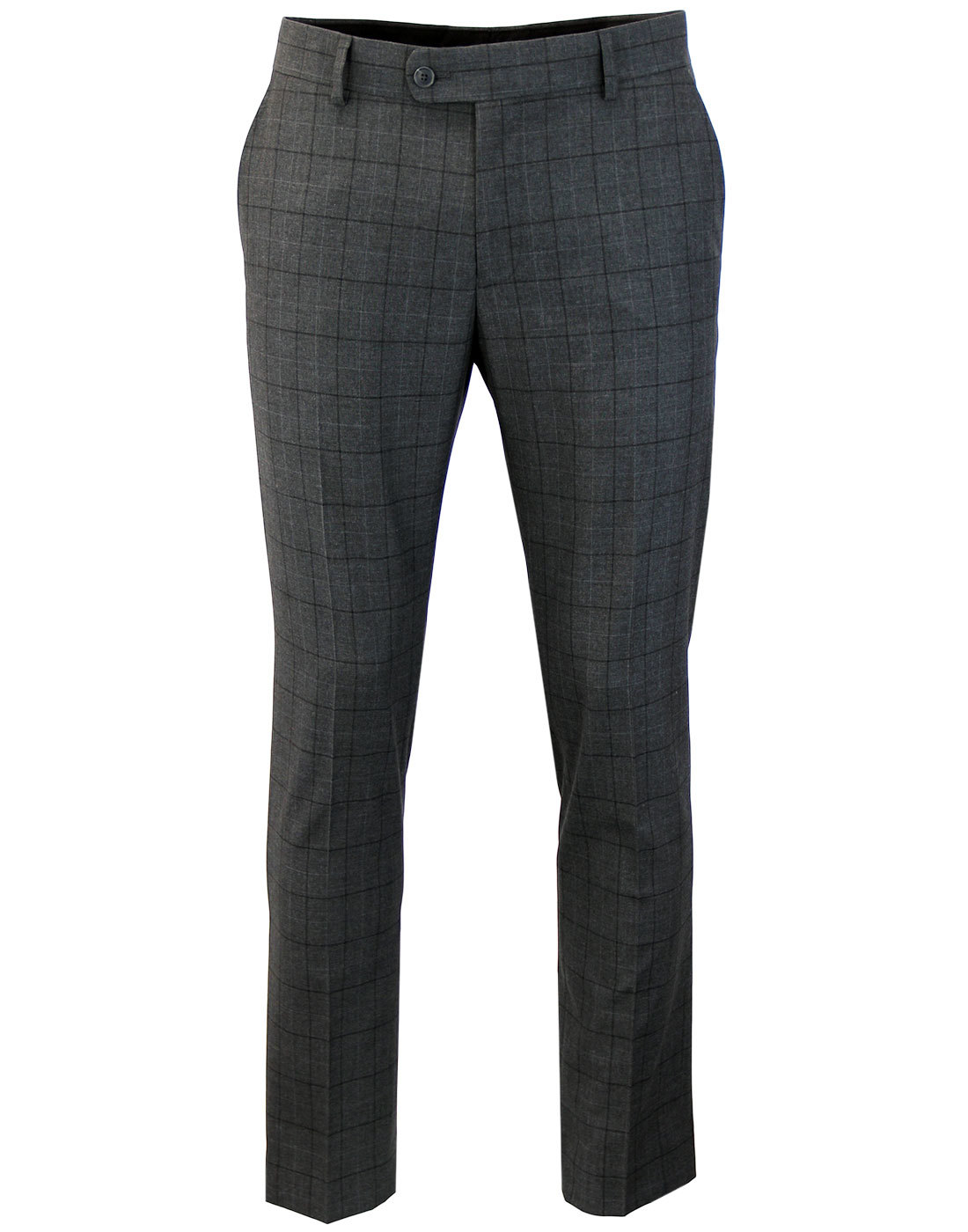 Men's Retro 60s Mod Windowpane Check Suit Trousers