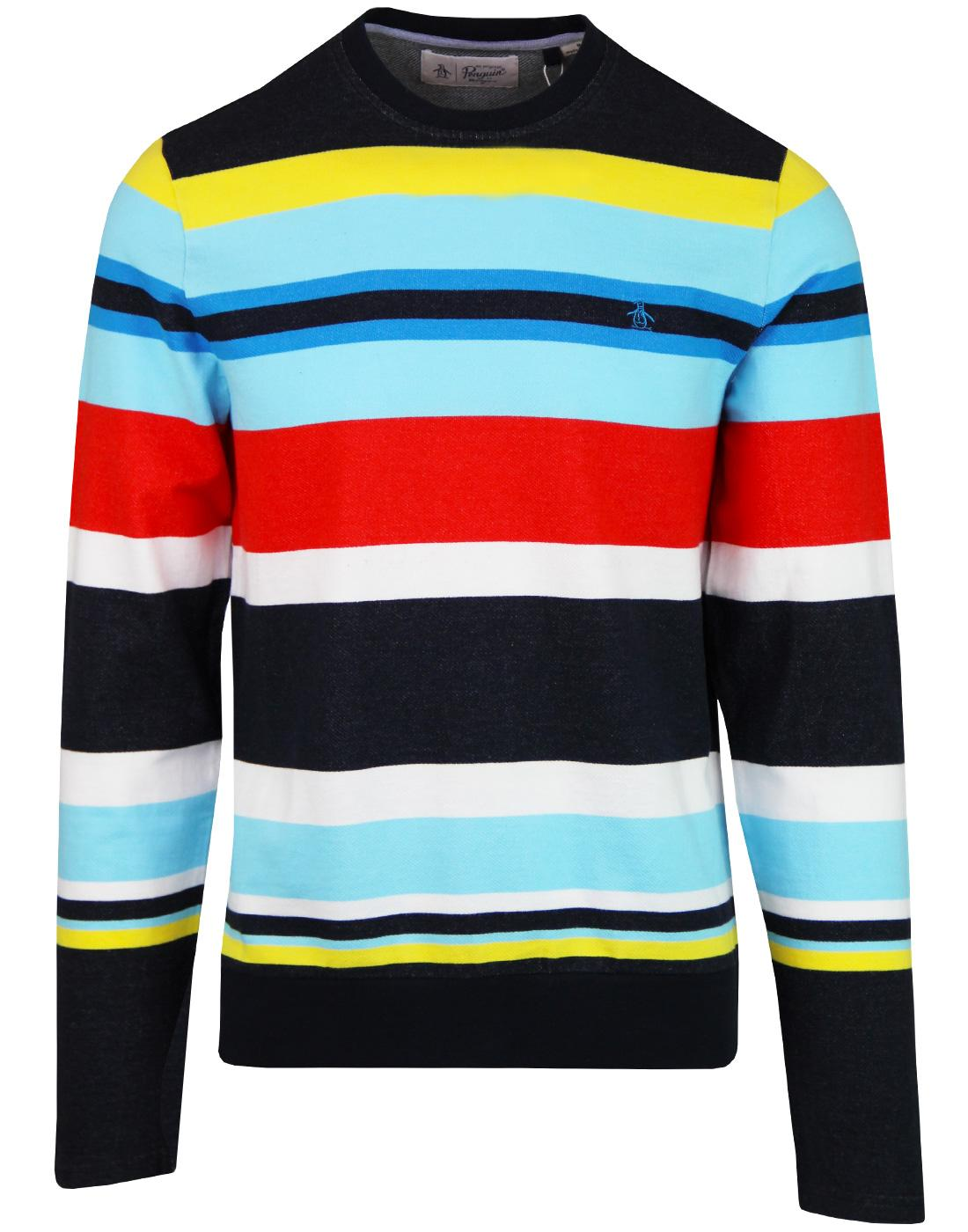 ORIGINAL PENGUIN Retro 70s Stripe Terry Sweatshirt