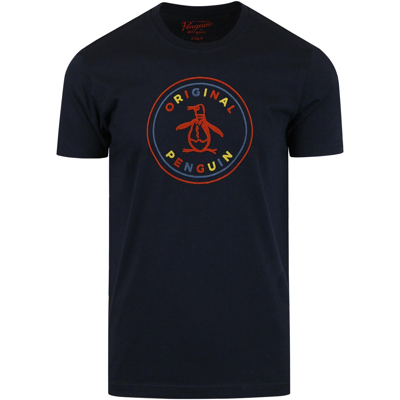 ORIGINAL PENGUIN Mens Retro Flock Stamp Logo Tee