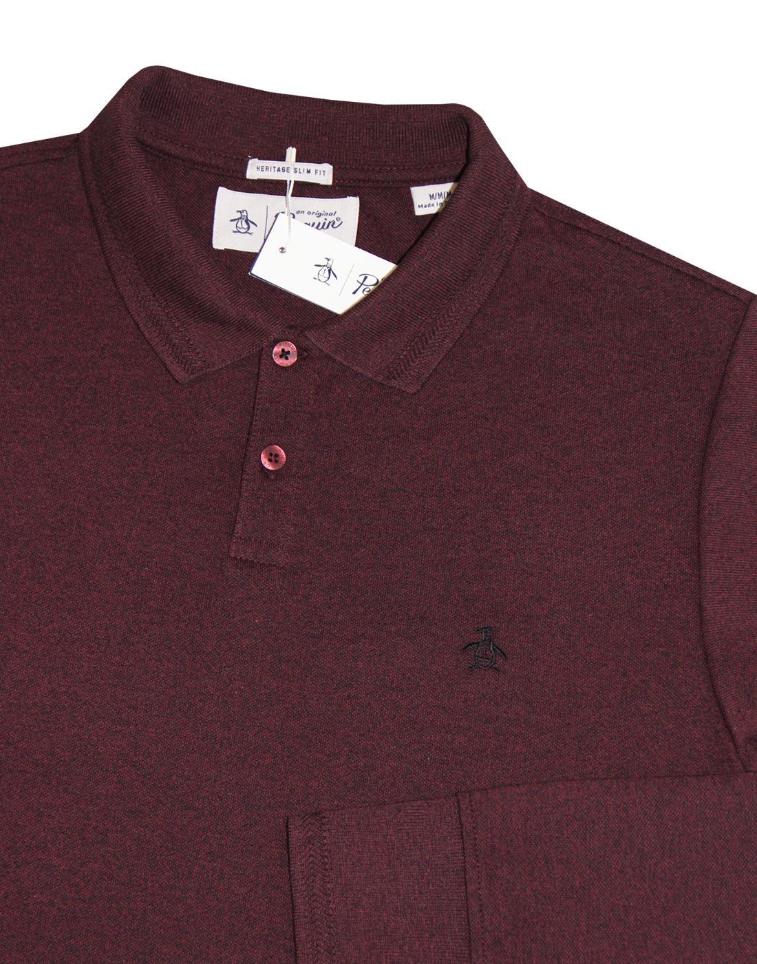 8de1b0b2f ORIGINAL PENGUIN Retro 1960s Mod Herringbone Rib Pique Polo Shirt