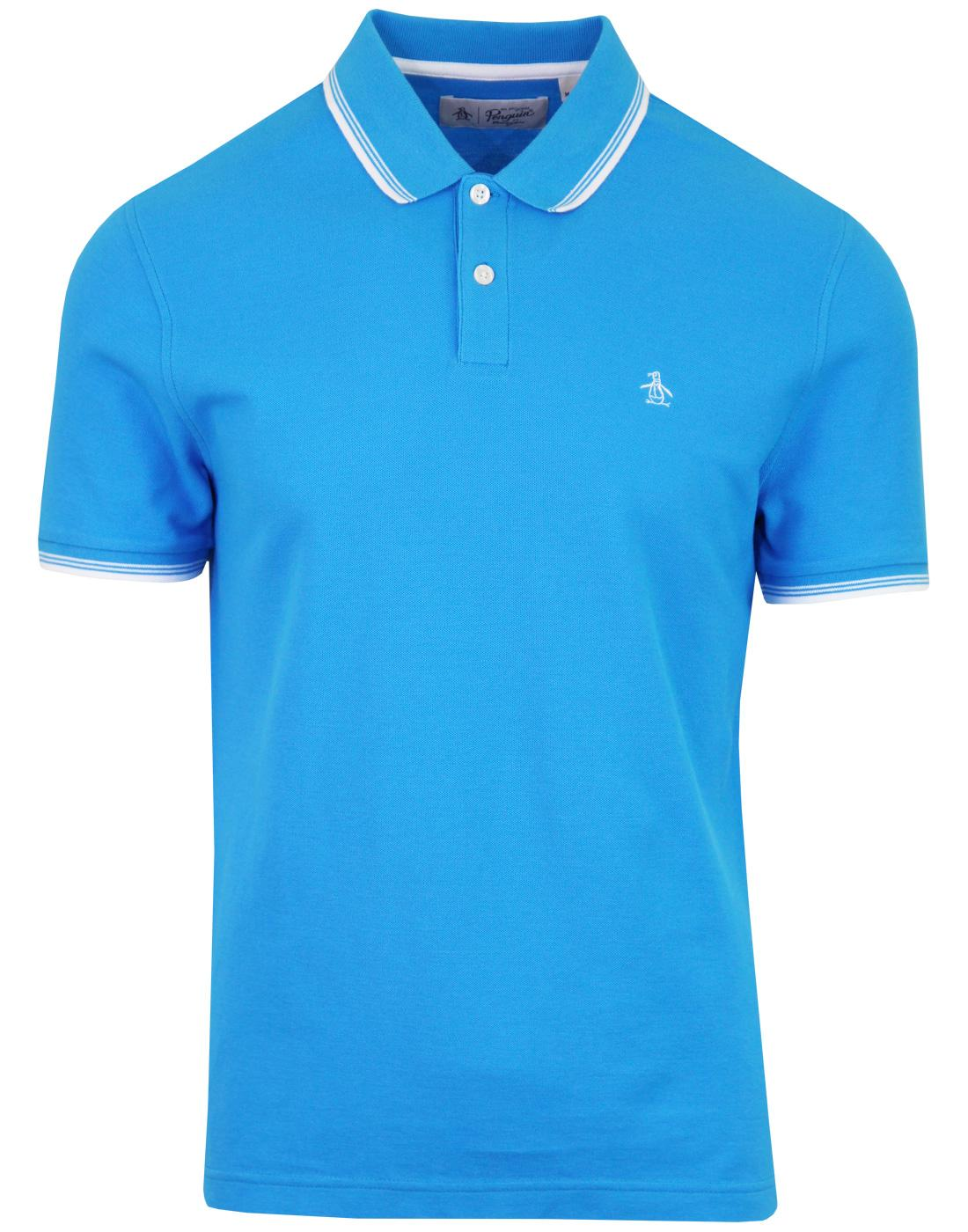 ORIGINAL PENGUIN 56 Retro Mod Tipped Polo Top BLUE