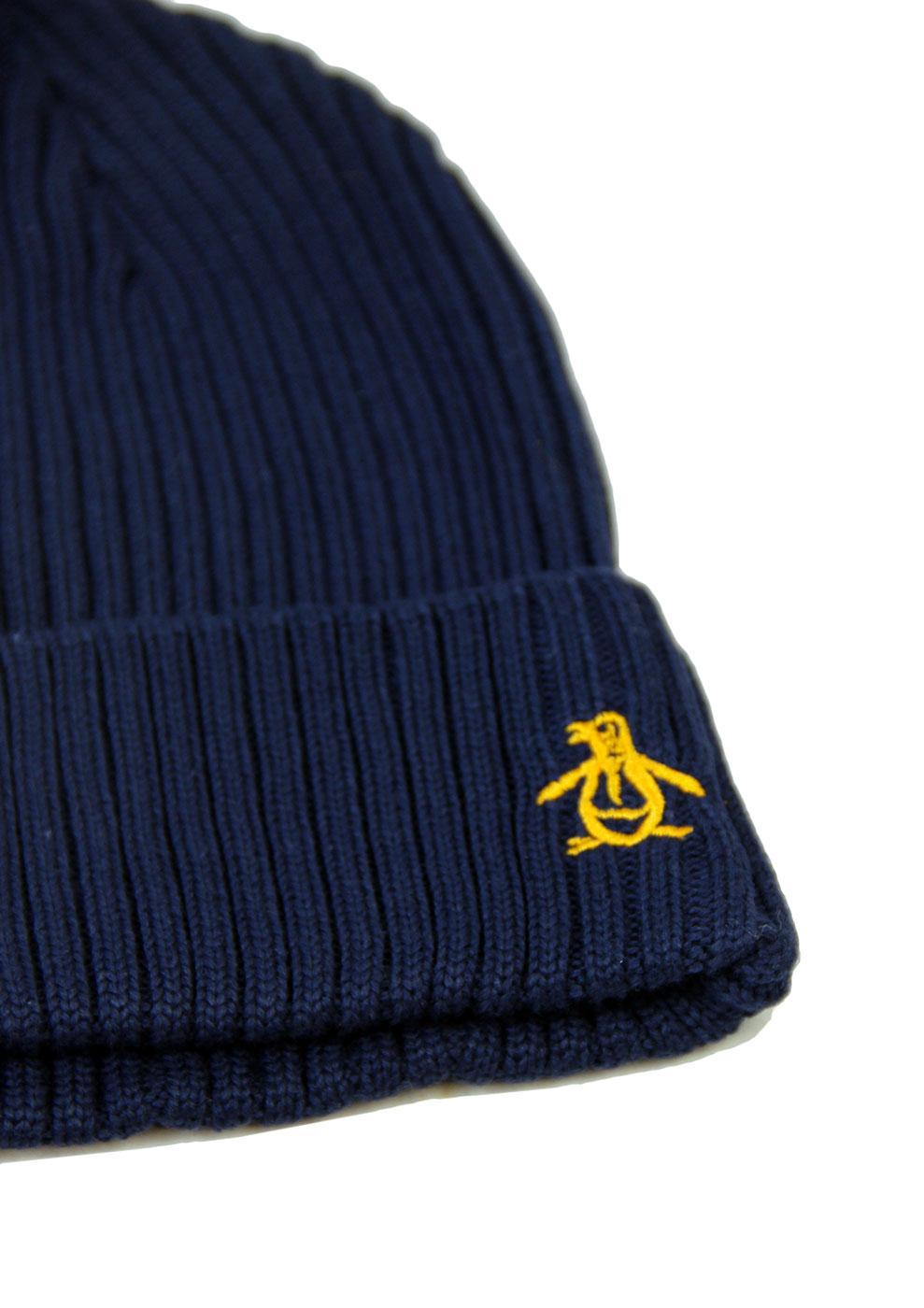 f33c928b9d4 ORIGINAL PENGUIN Ribe Retro 70s Rib Beanie Hat in Dark Sapphire