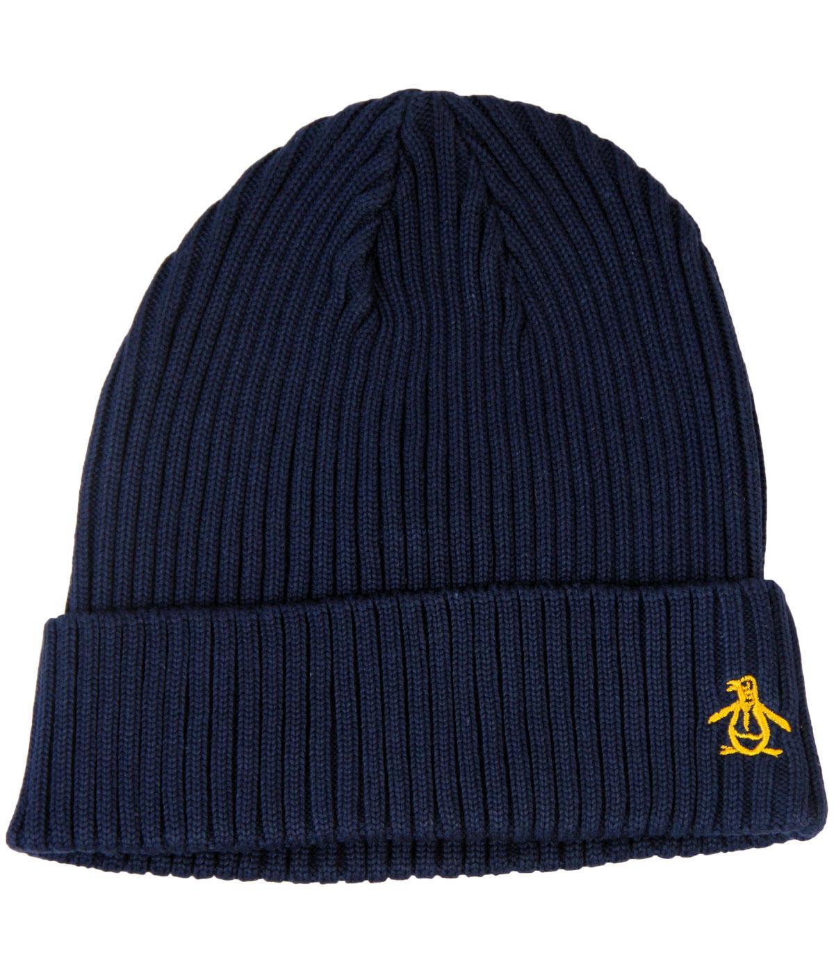 ORIGINAL PENGUIN Ribe Retro 70s Rib Beanie Hat in Dark Sapphire f6d475f174b