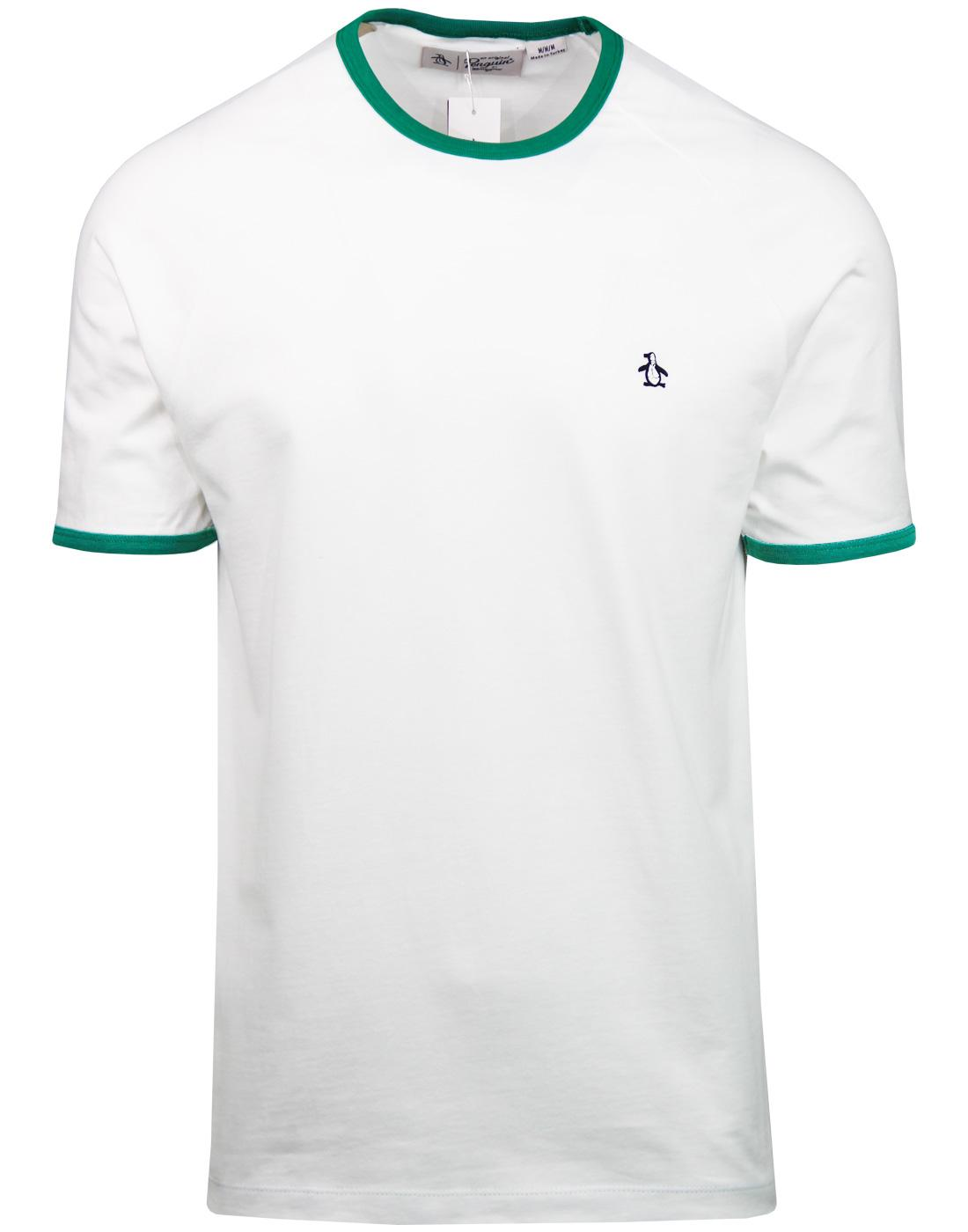 ORIGINAL PENGUIN Retro Ringer T-shirt WHITE/GREEN