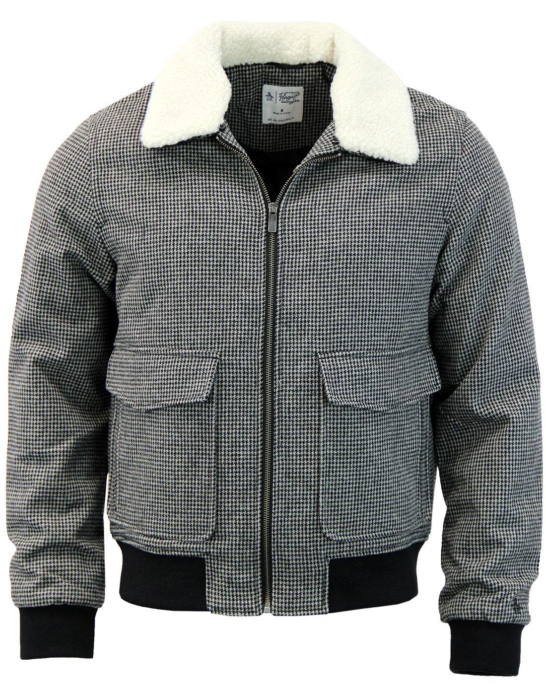 ORIGINAL PENGUIN Houndstooth Sherpa Collar Jacket
