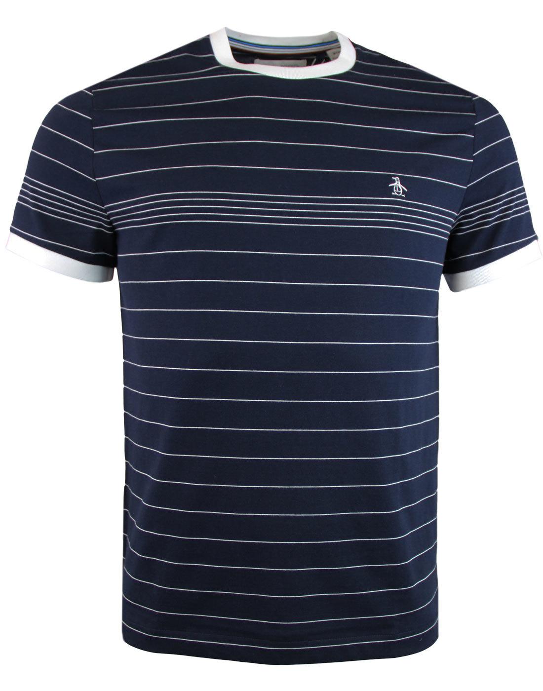 e9333061430 ORIGINAL PENGUIN Mens Retro Indie Striped T-Shirt In Sapphire