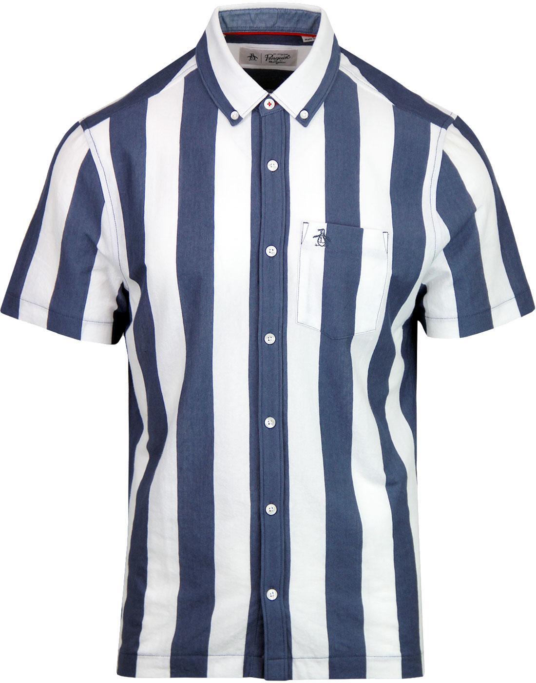 ORIGINAL PENGUIN Knitted Vertical Stripe Mod Shirt