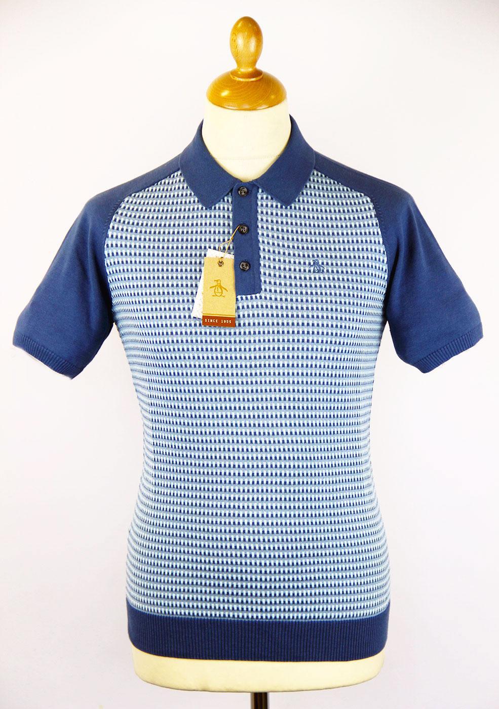 12e94797 ORIGINAL PENGUIN Trink Retro 60s Mod Jacqaurd Knit Polo Shirt