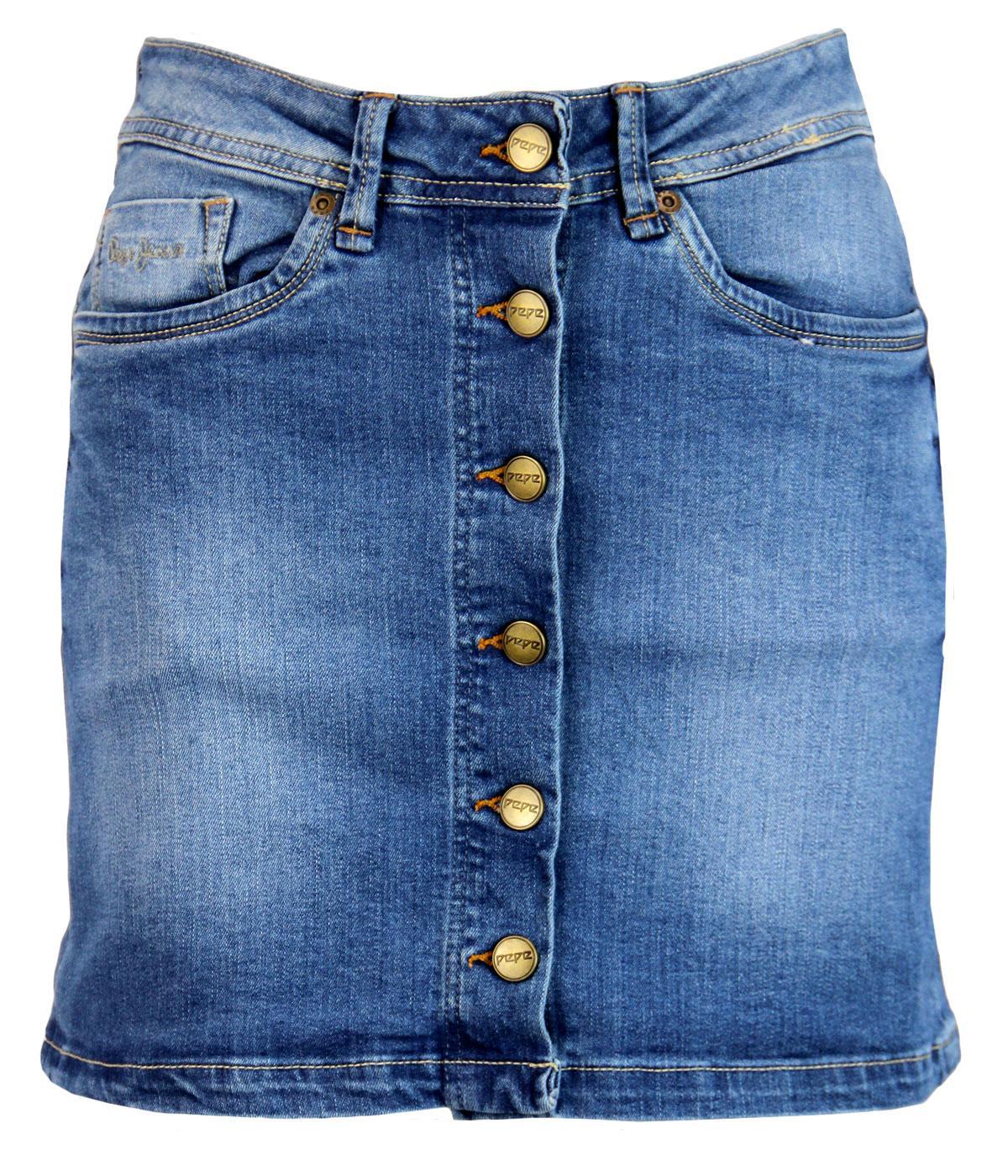 Khloe PEPE JEANS Retro Button Front Denim Skirt