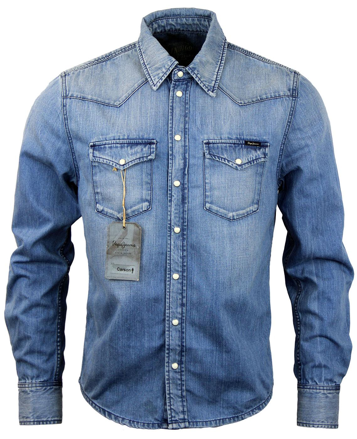 0a37cec7779 Carson PEPE JEANS Retro 70s Light Wash Denim Shirt