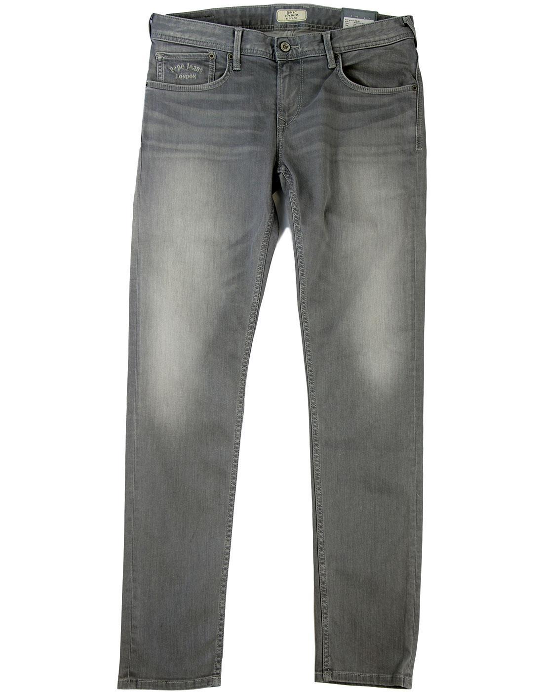 Finsbury PEPE Retro Bleached Slate Drainpipe Jeans