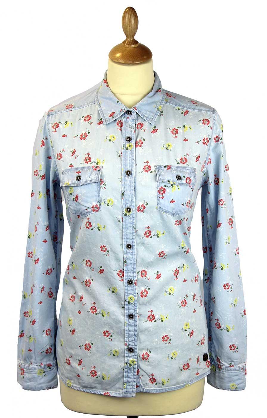 Flor PEPE JEANS Retro 70s Printed Denim Shirt