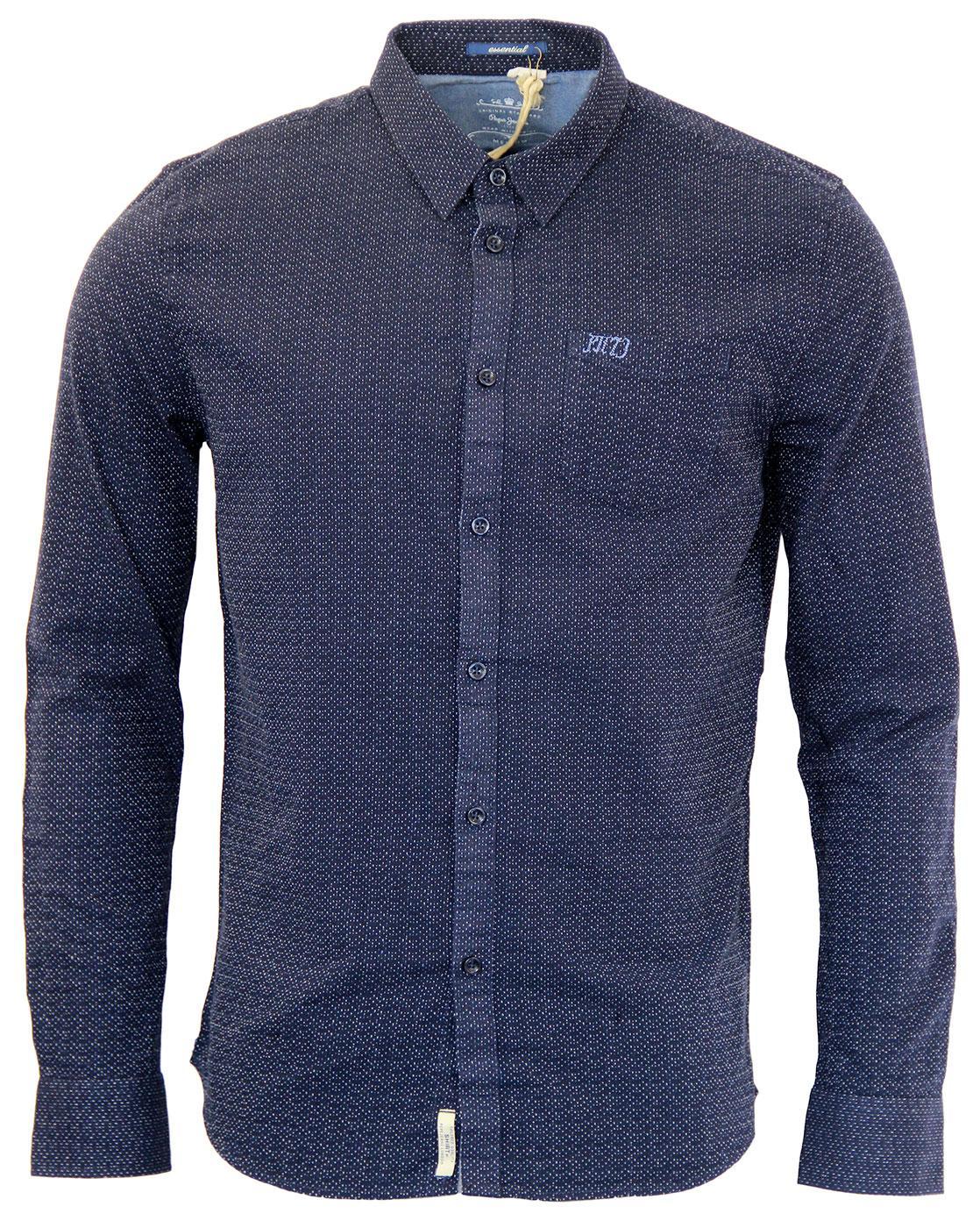 8d13a3f947759c PEPE JEANS Lane Retro Indie Mod Jacqaurd Micro Dash Shirt in Blue