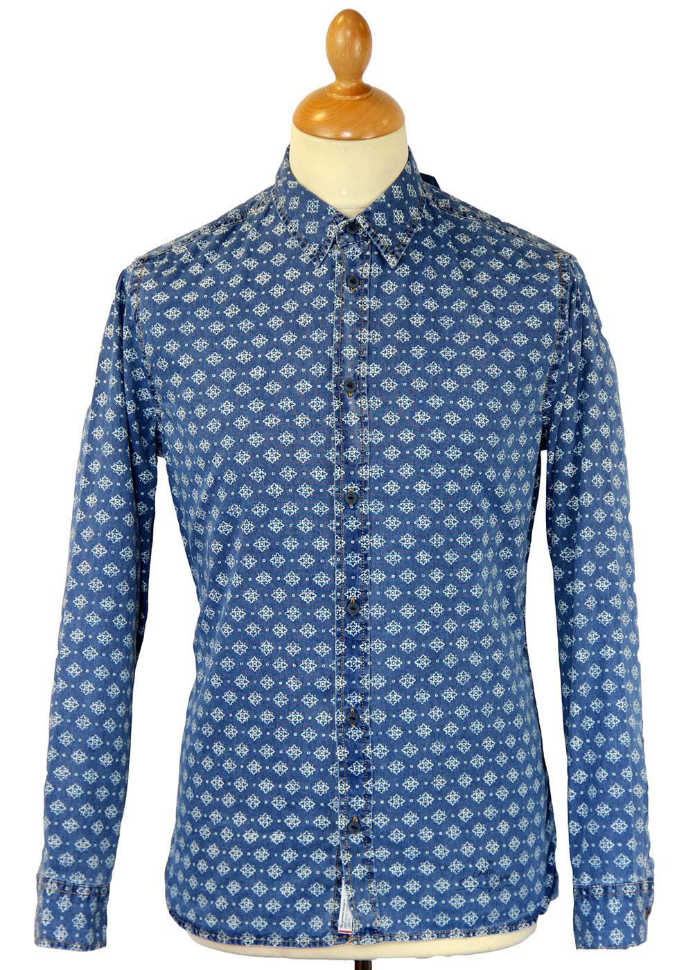 Latrobe Pepe Jeans Retro 70s Indigo Dye Geo Shirt