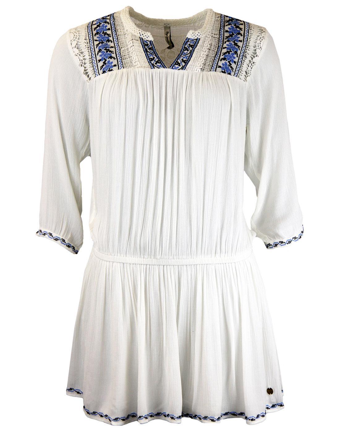 ALADIS PEPE Retro Embroidered Kaftan Tunic Dress