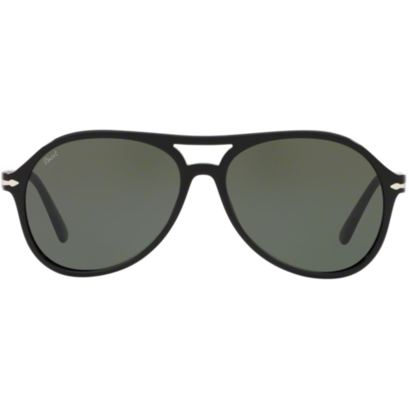PERSOL Men's Retro 70s Aviator Sunglasses in Black