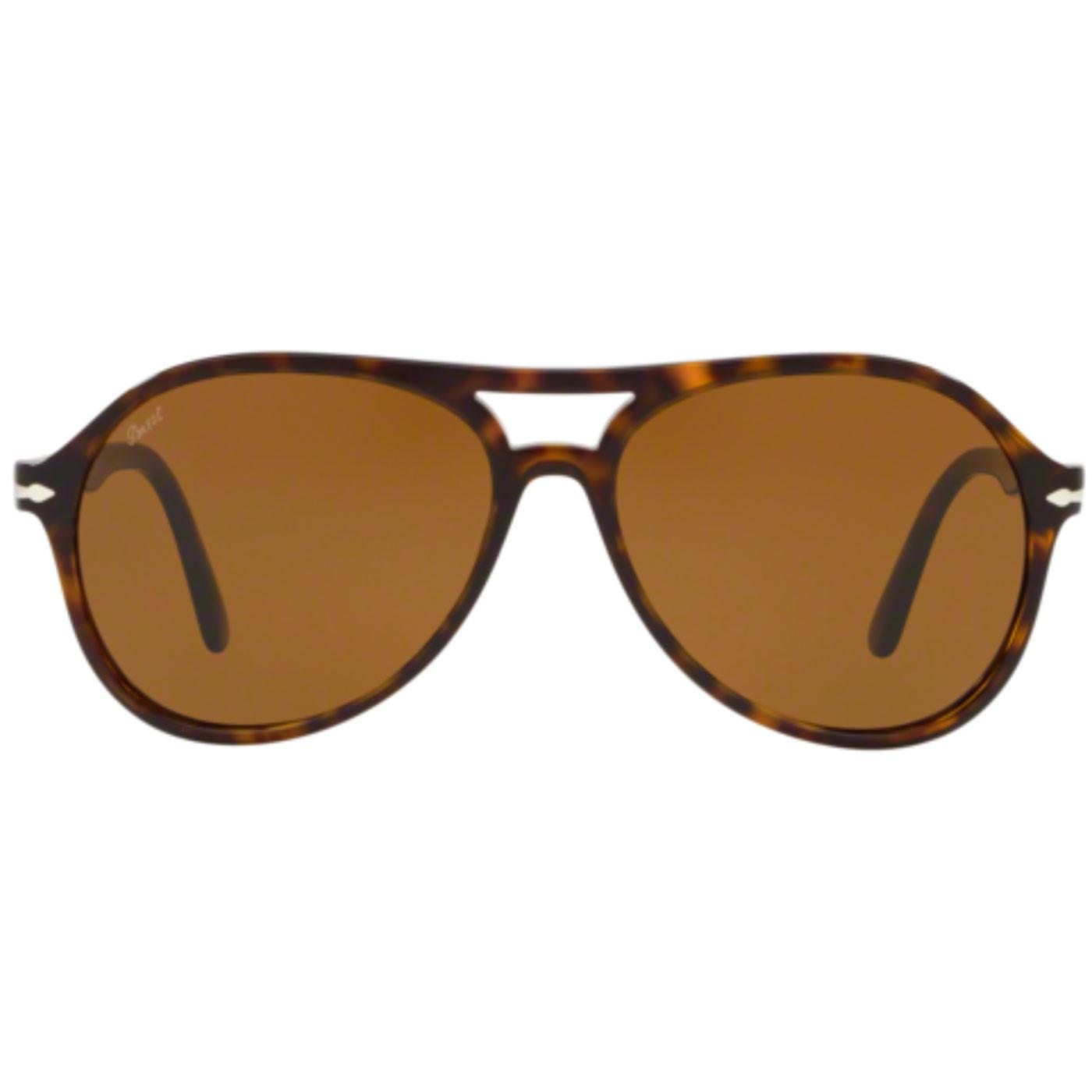 PERSOL Men's Retro 70s Aviator Sunglasses - Havana