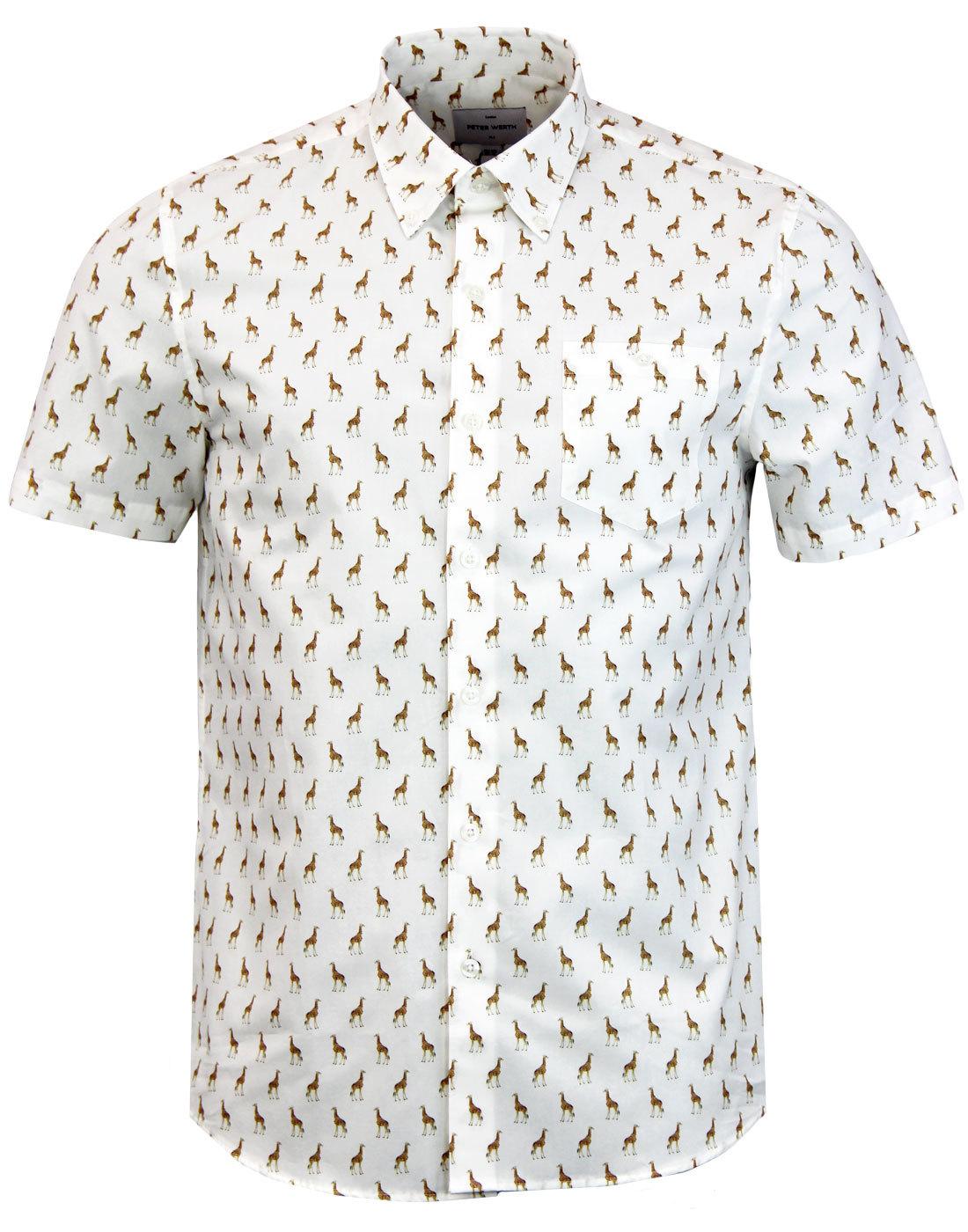 70s White Printed Shirt Pointed Collar Shirt 1970s Shirt