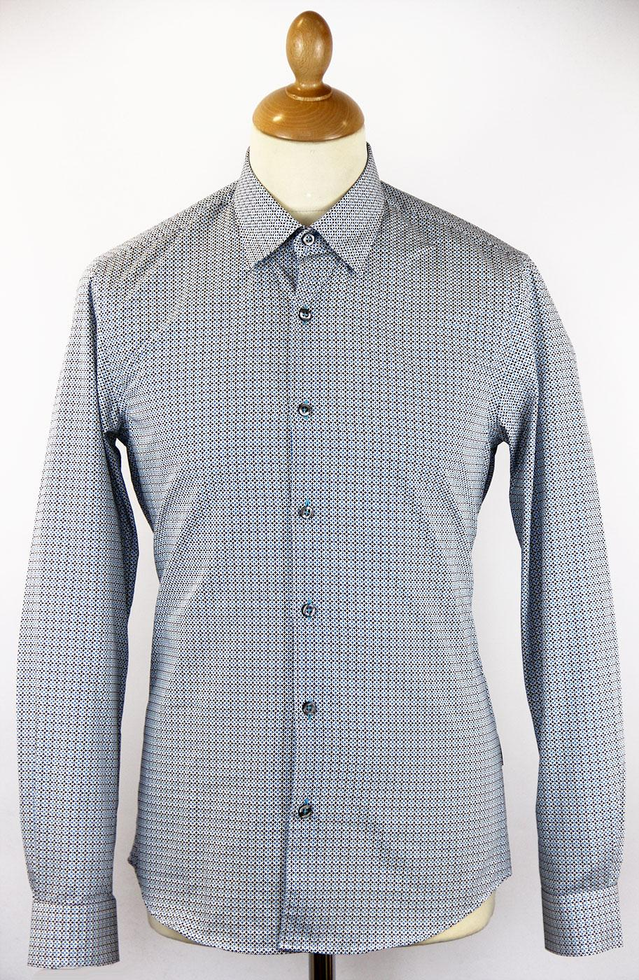 Legard PETER WERTH Mod Button Under Op Art Shirt