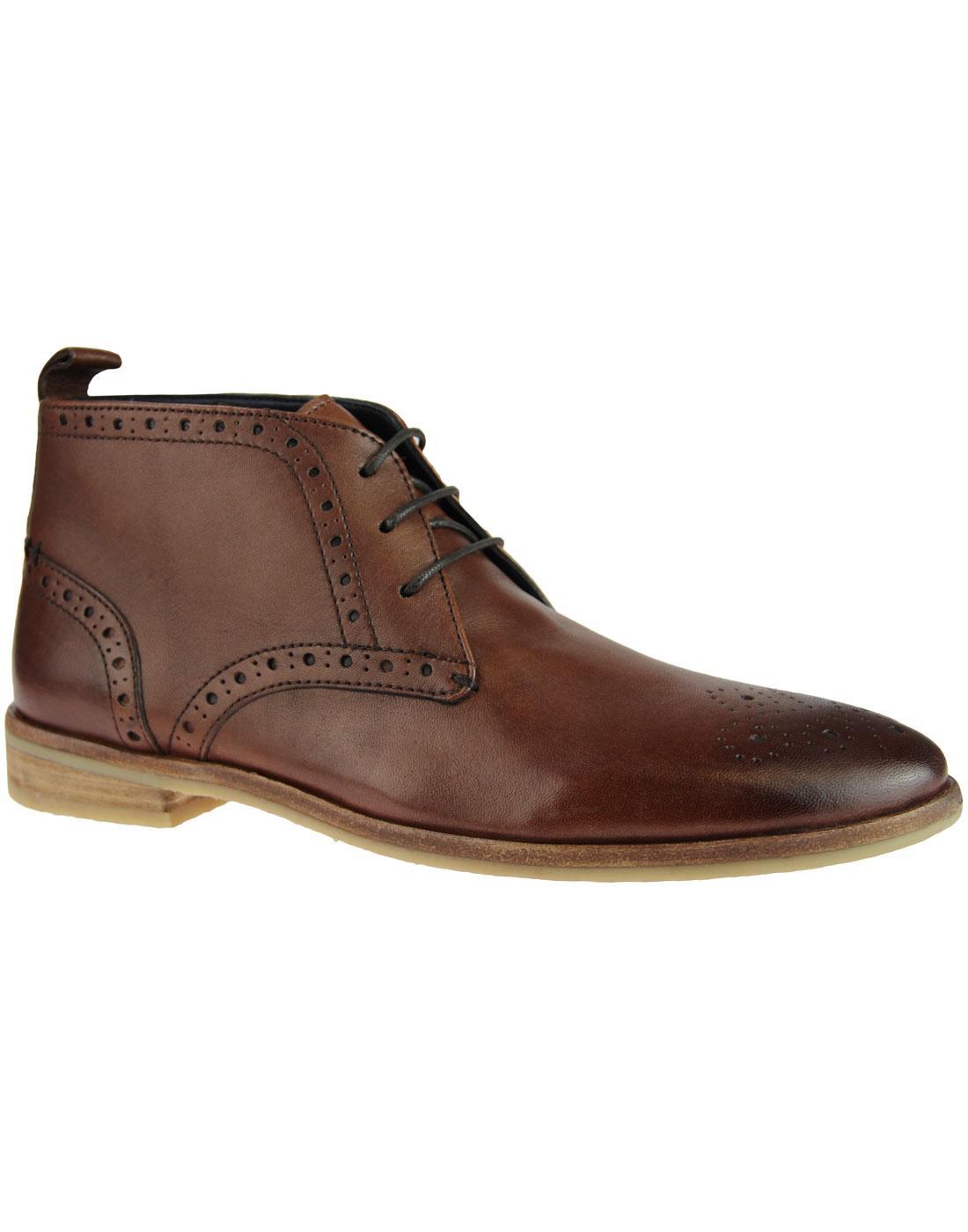 PAOLO VANDINI Tavis Retro Mod Brogue Ankle Boots