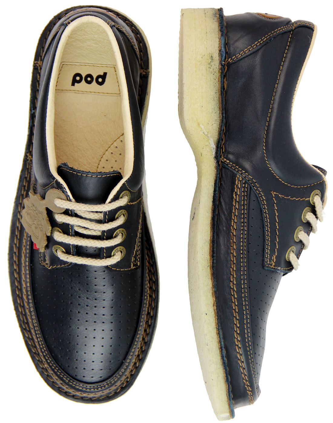 427d6c072 POD HERITAGE Gallagher Retro 70s Pin Punch Leather Casuals Shoes