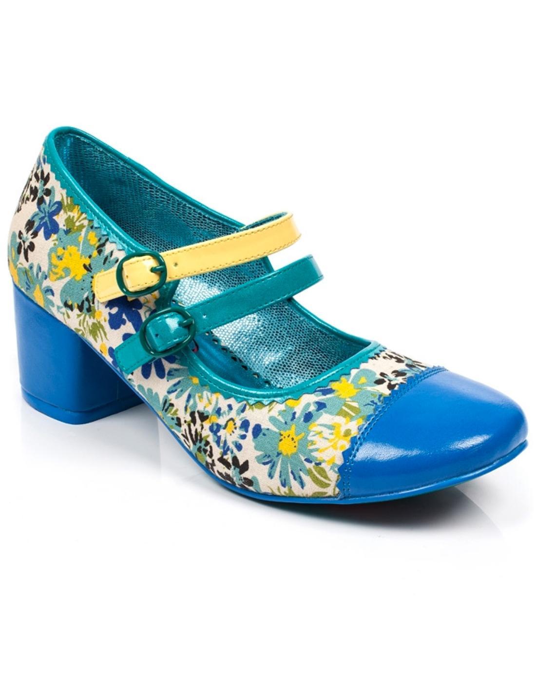 Mini Mod POETIC LICENCE 60s Floral Mod Shoes -Blue