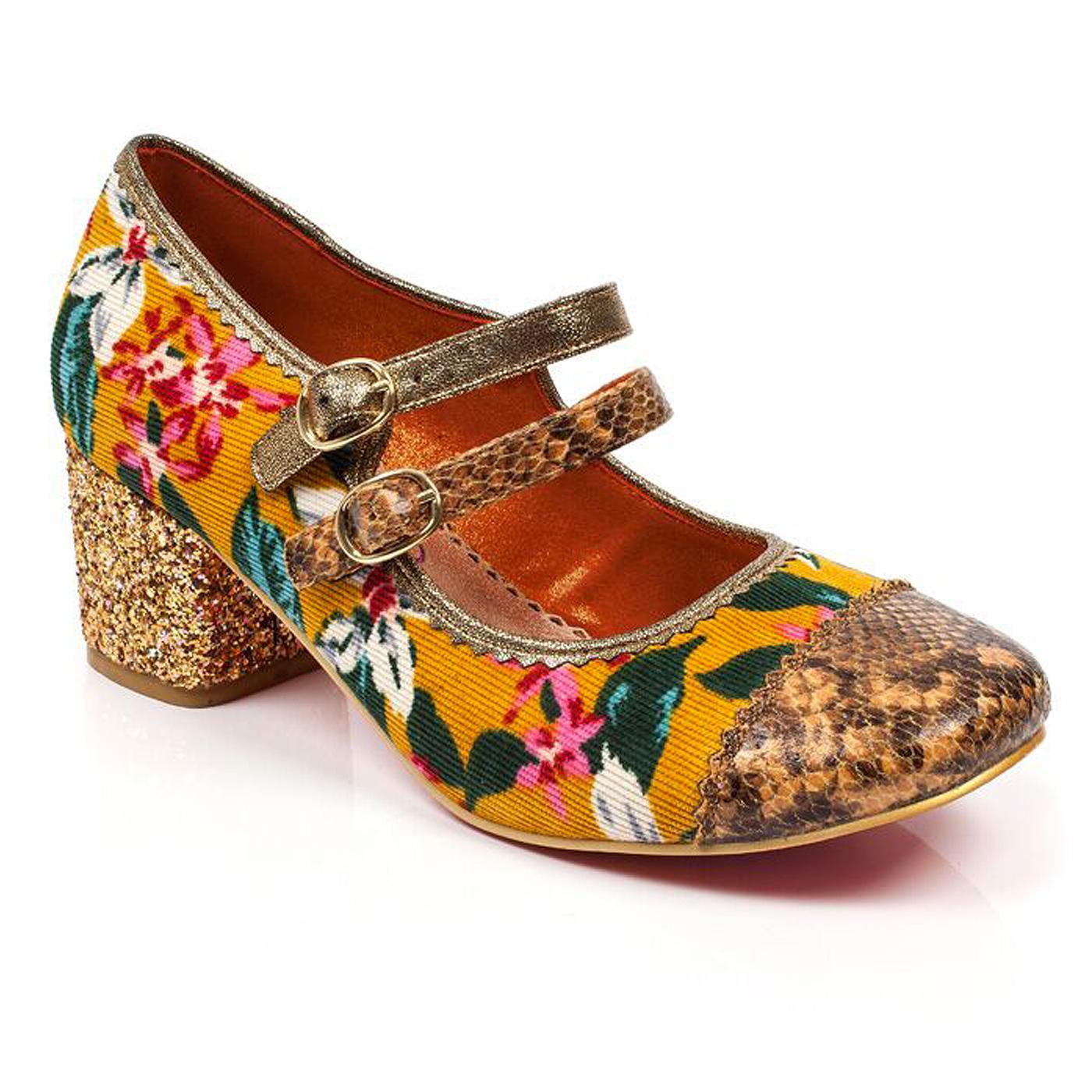 Mini Mod POETIC LICENCE Floral 60s Heels - Mustard