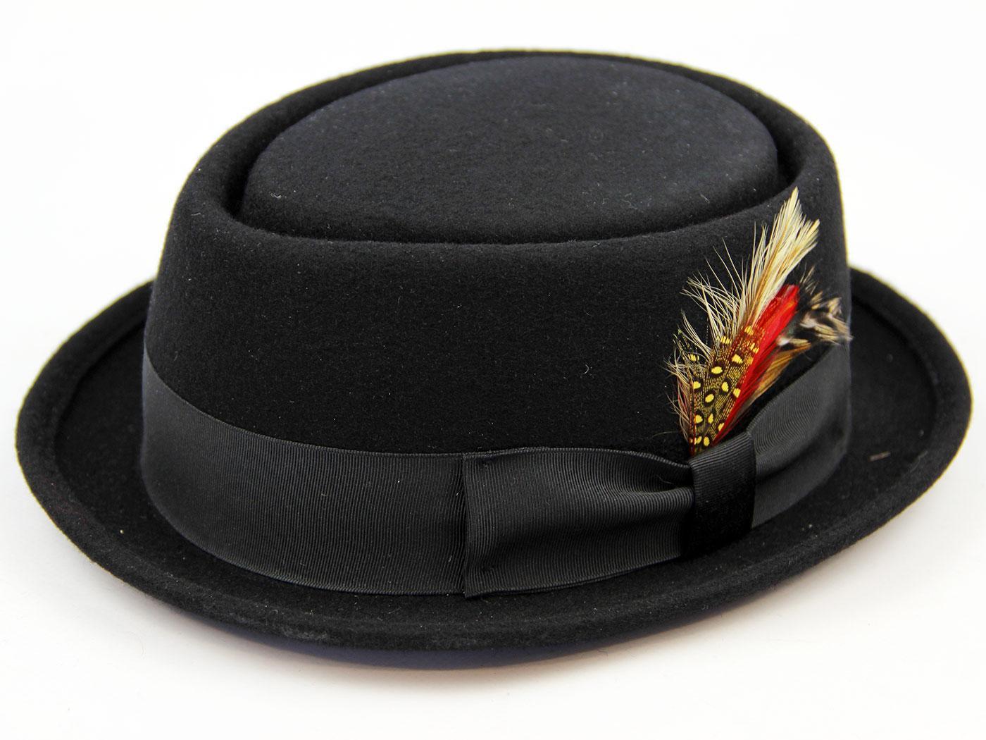 'Be-Bop' Retro Mod Revival Wool Felt Pork Pie Hat