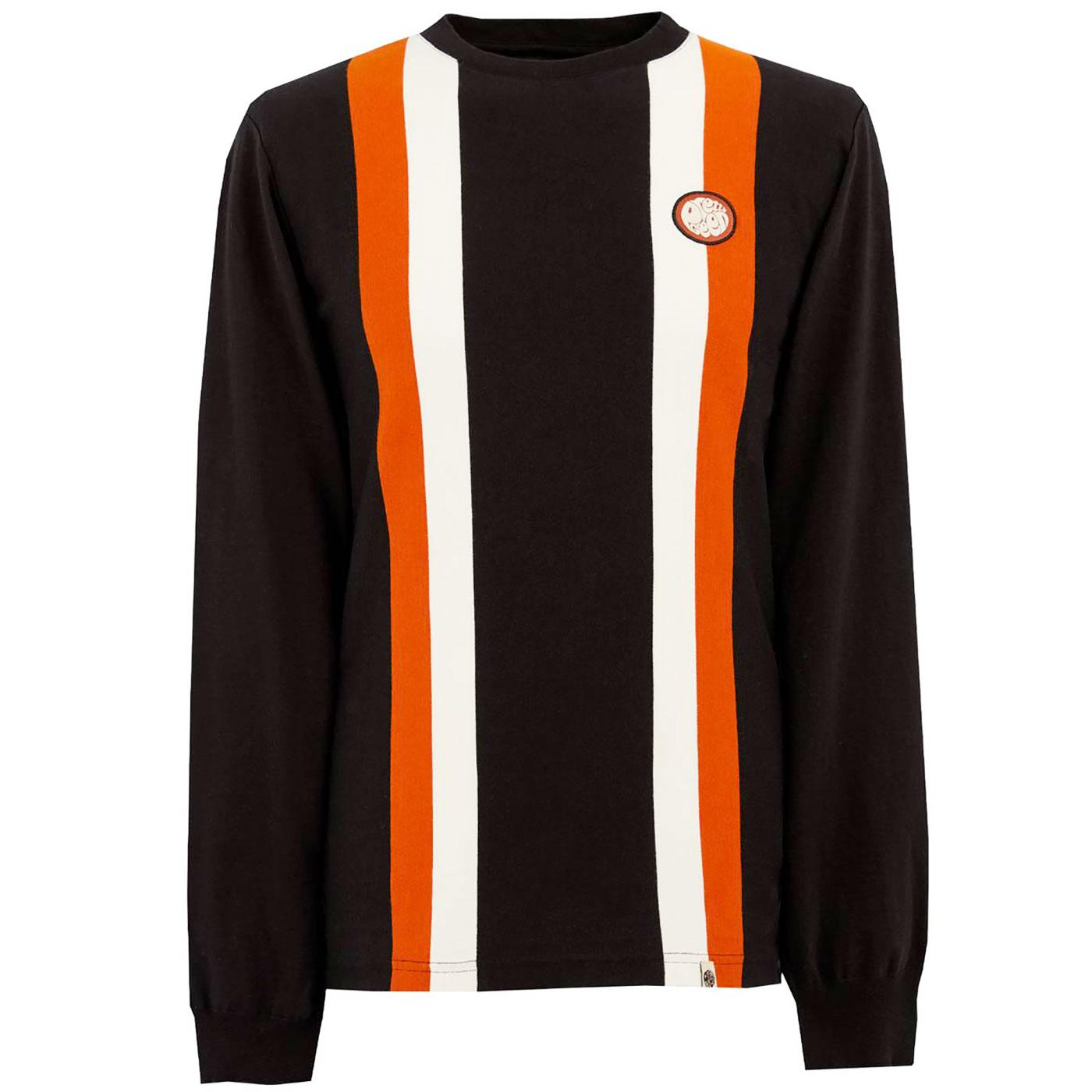 PRETTY GREEN Retro LS Engineered Stripe T-Shirt