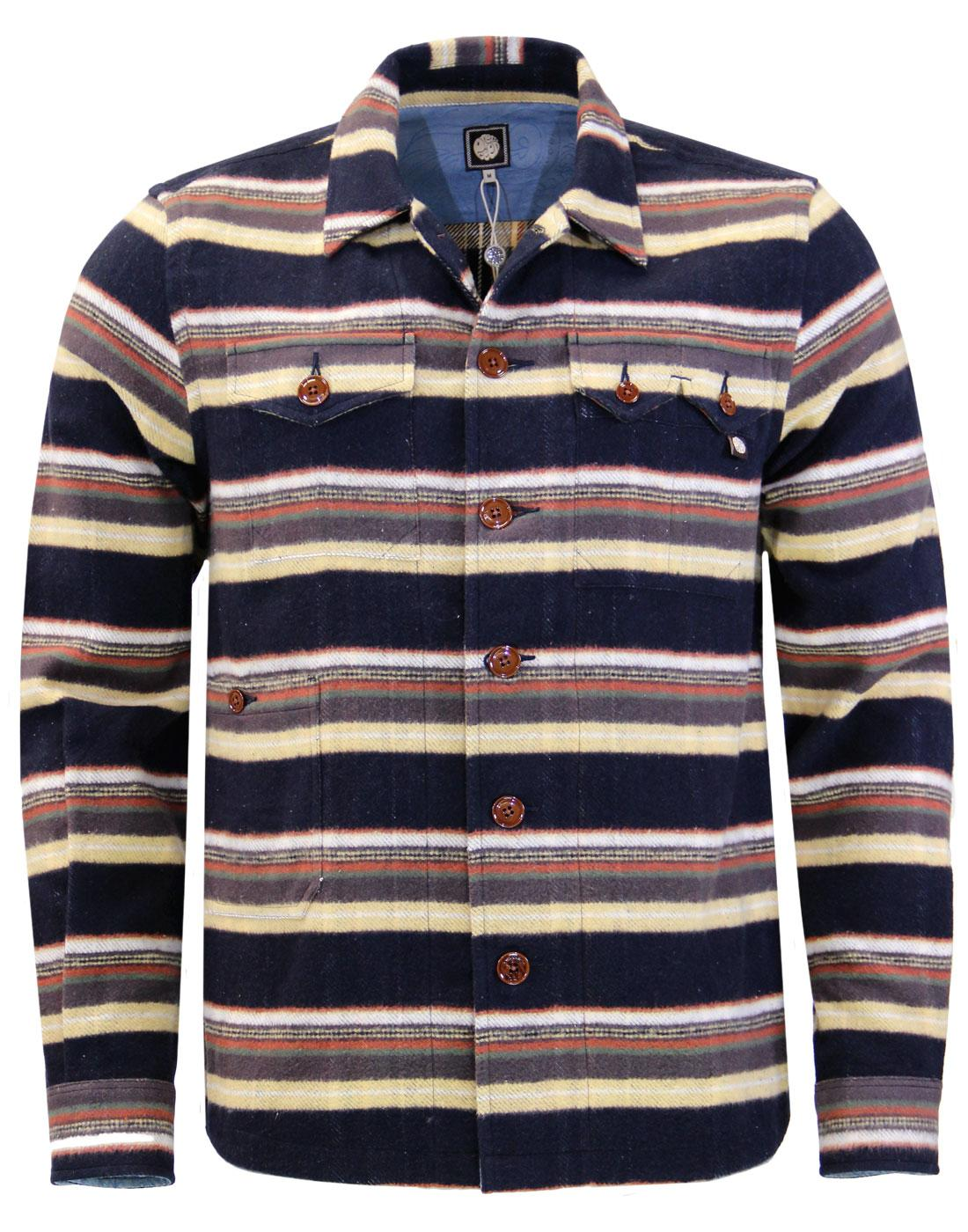 Audio Stripe PRETTY GREEN Brushed Cotton Overshirt