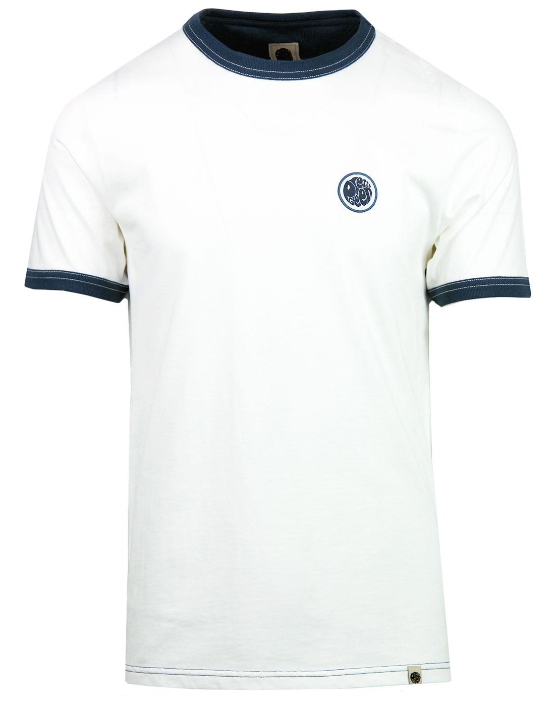 Milford PRETTY GREEN Retro Badge Ringer Tee WHITE