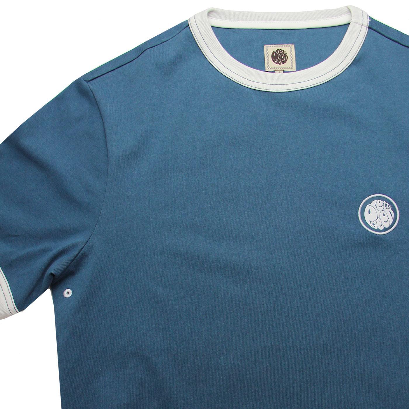 5b1663332d0 PRETTY GREEN Retro Sixties Badge Ringer Tee in Blue
