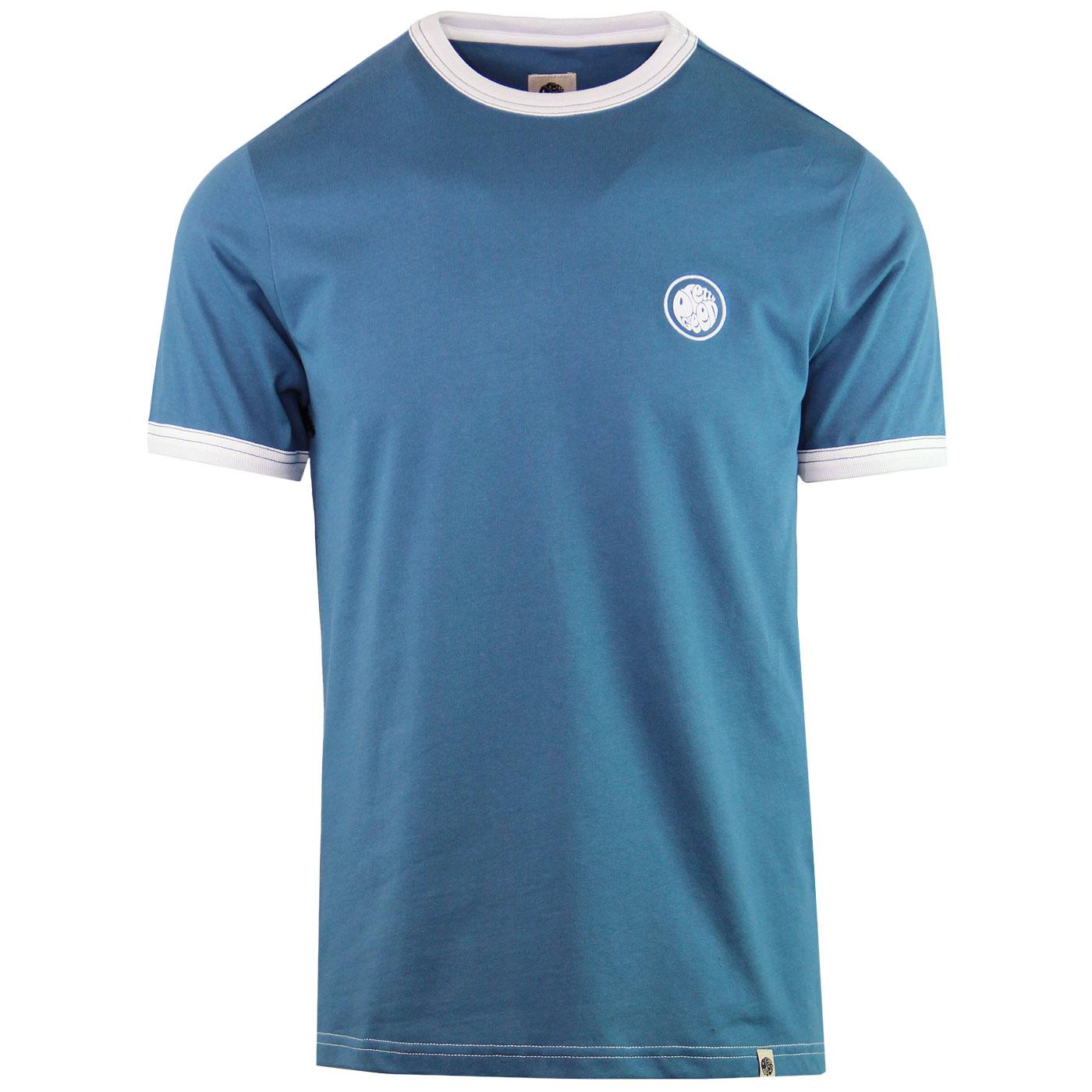 PRETTY GREEN Retro Sixties Badge Ringer Tee BLUE