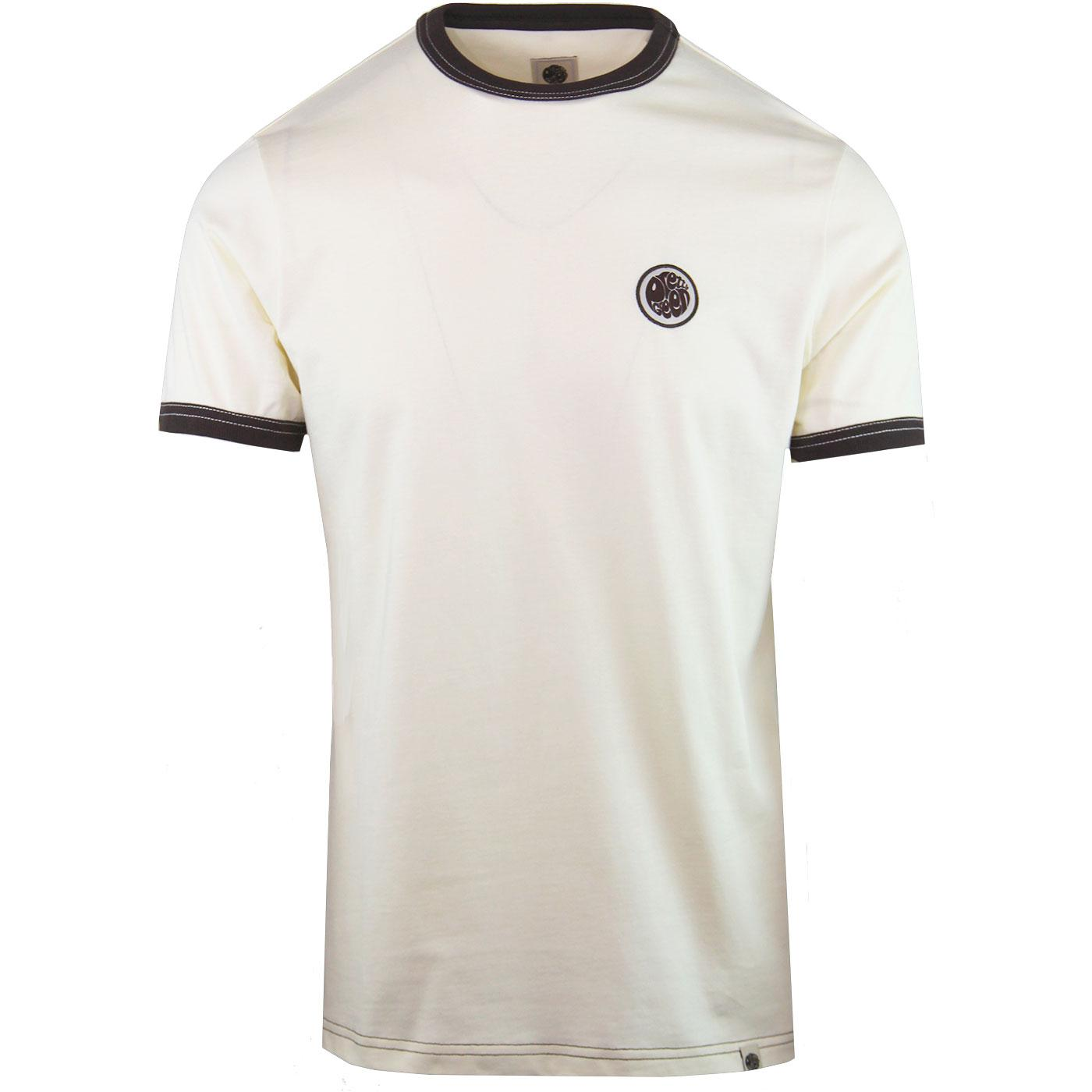 PRETTY GREEN Retro Sixties Badge Ringer Tee OW