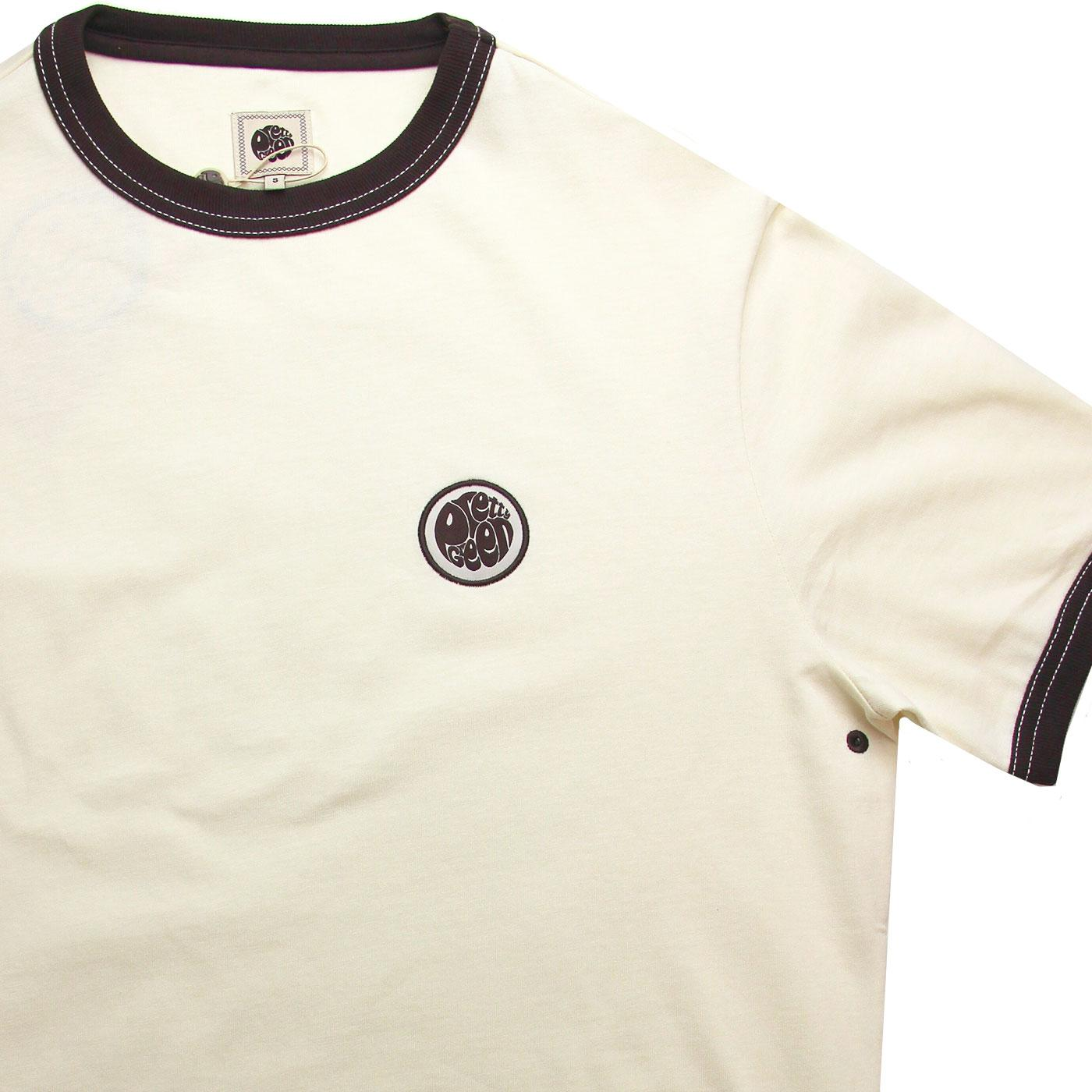 c70ac182a2a0 PRETTY GREEN Retro Sixties Badge Ringer Tee in Off White