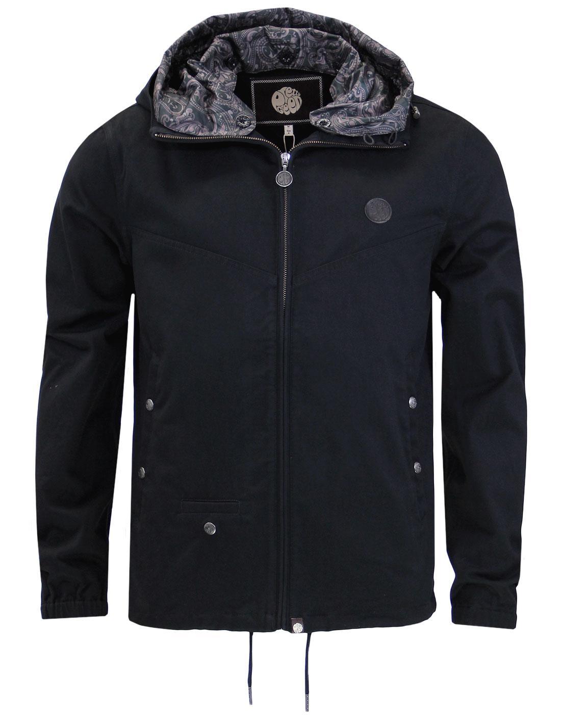 Beckford PRETTY GREEN Retro Hooded Jacket BLACK
