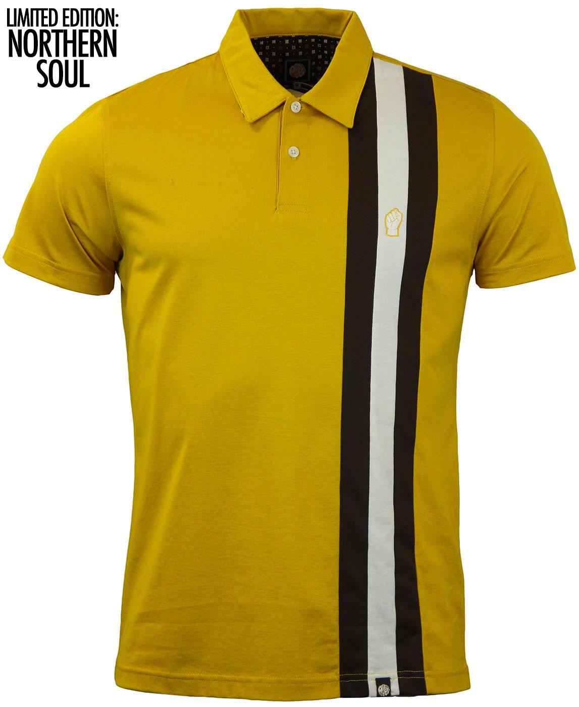 d3bee23a PRETTY GREEN Blackpool Northern Soul Racing Stripe Polo in Yellow