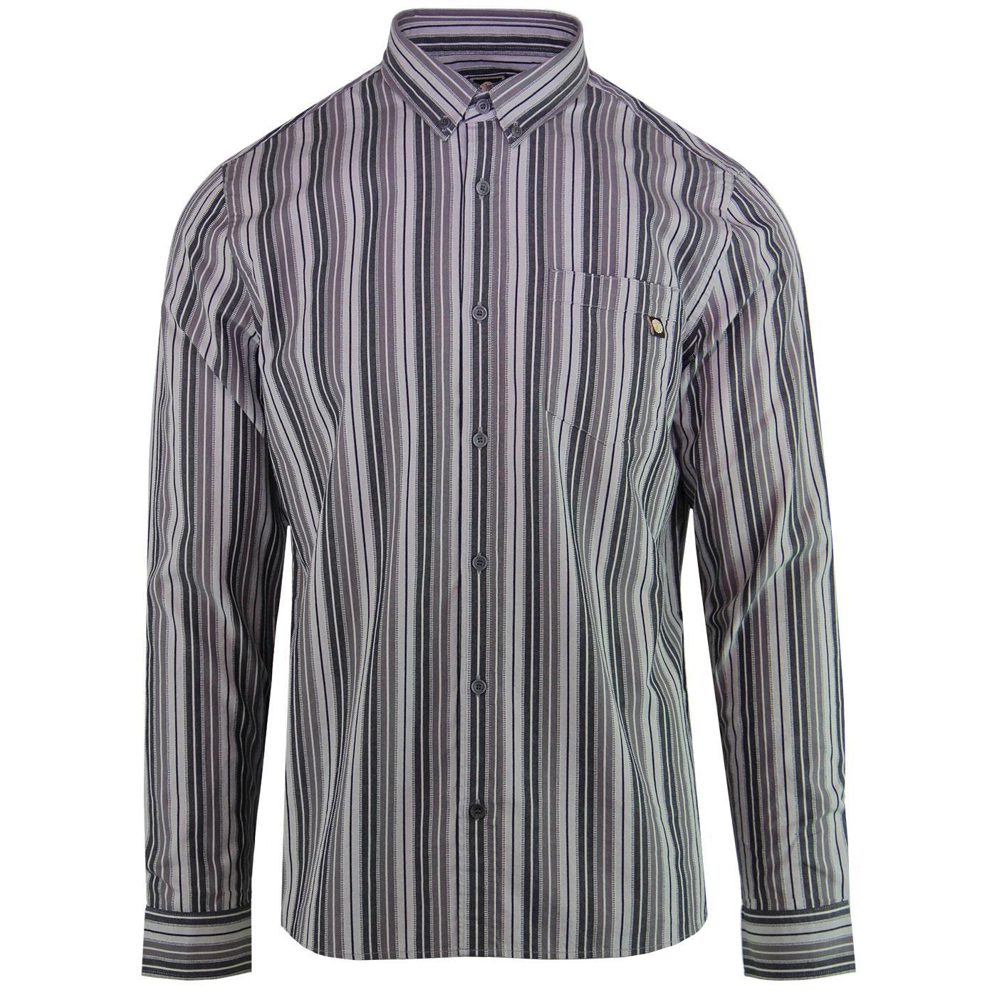 PRETTY GREEN 60s Mod Engineered Stripe Shirt GREY