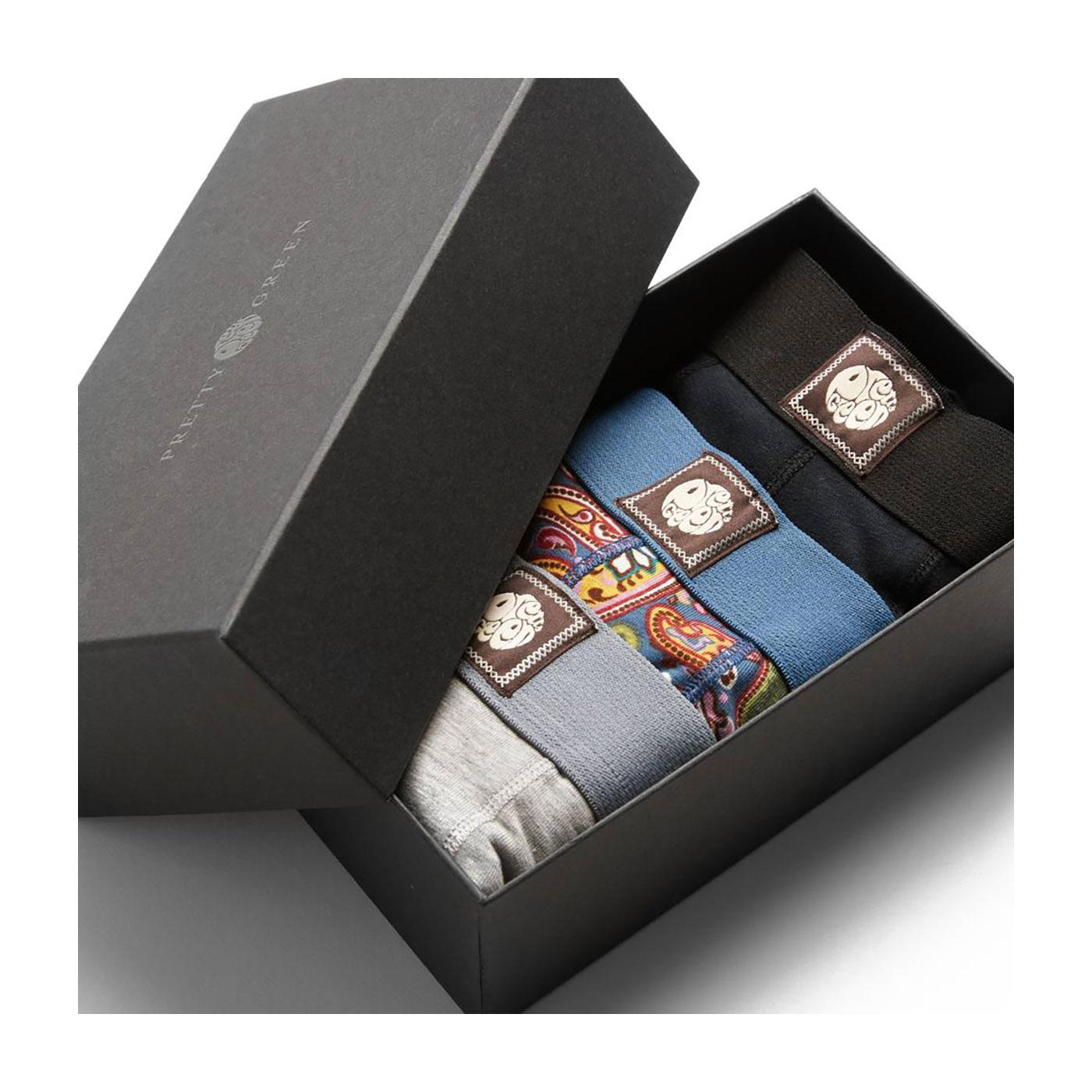 PRETTY GREEN 3 Pack Retro Boxer Shorts Gift Set
