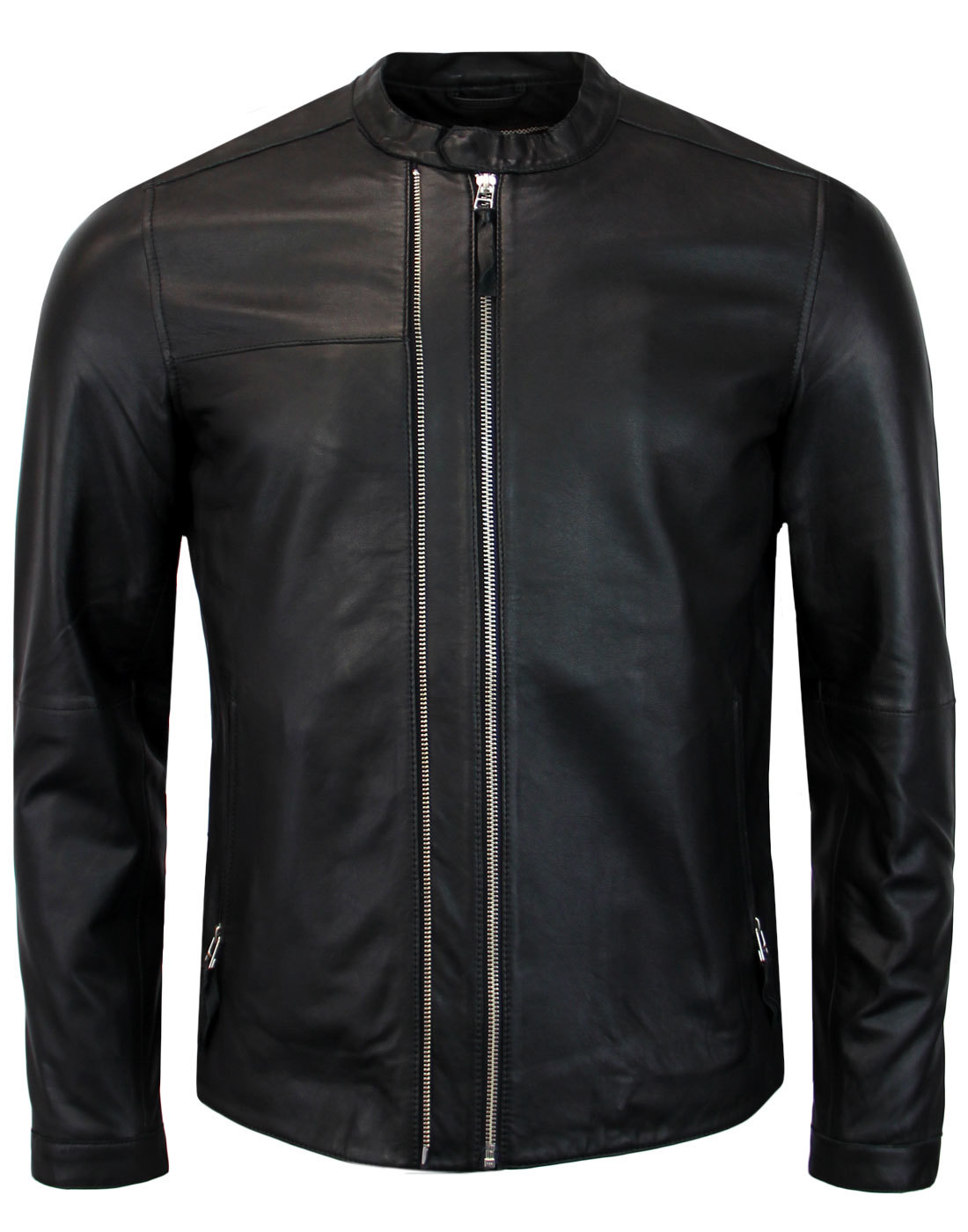 Burridge PRETTY GREEN Retro Leather Racer Jacket B