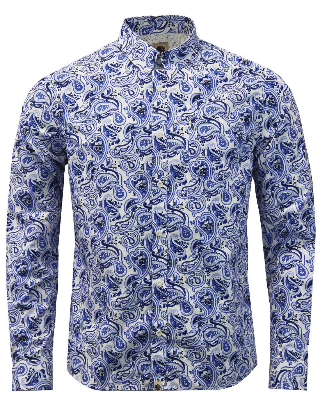 Caversham PRETTY GREEN Retro 60s Mod Paisley Shirt