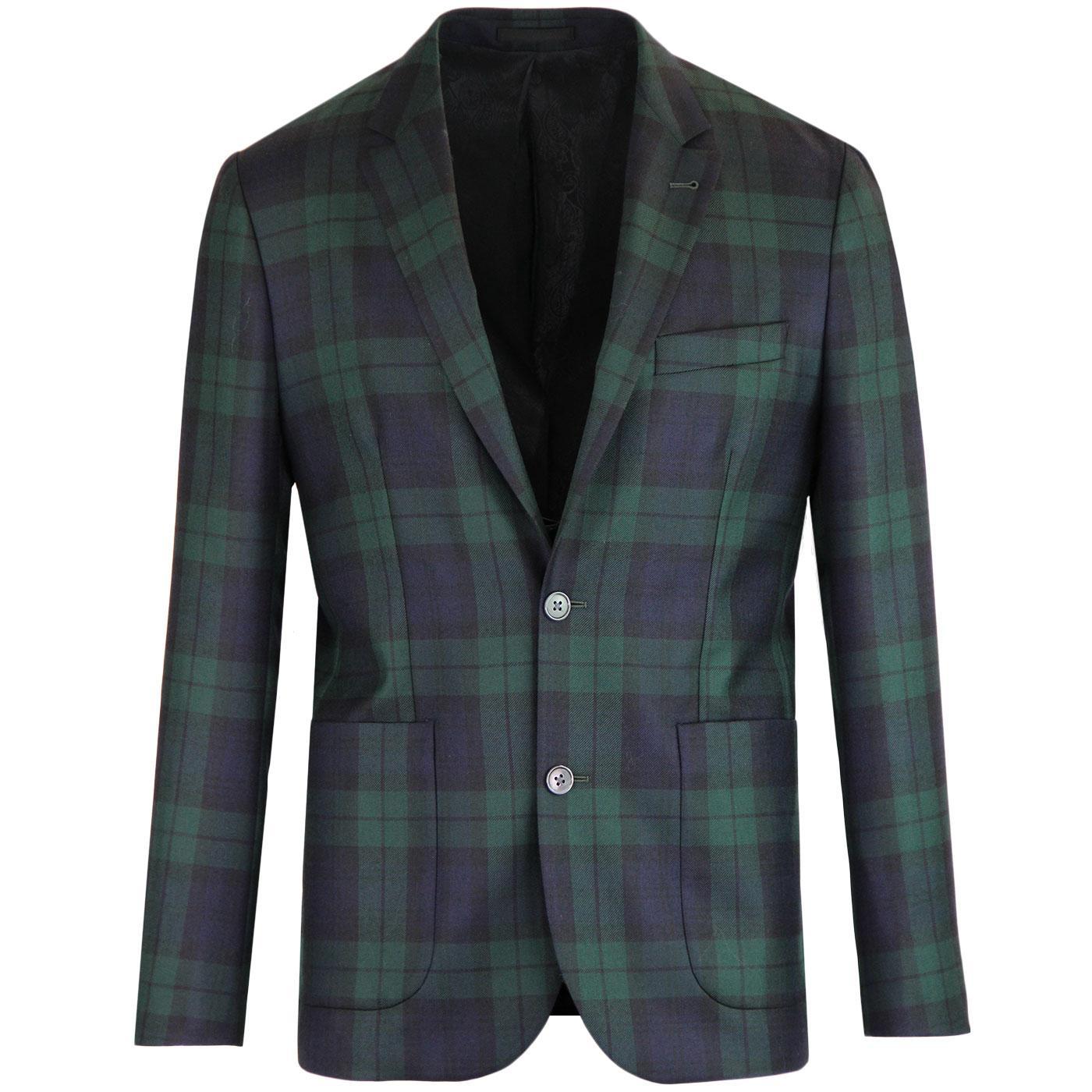 PRETTY GREEN Black Label 60s Mod Check Suit Jacket