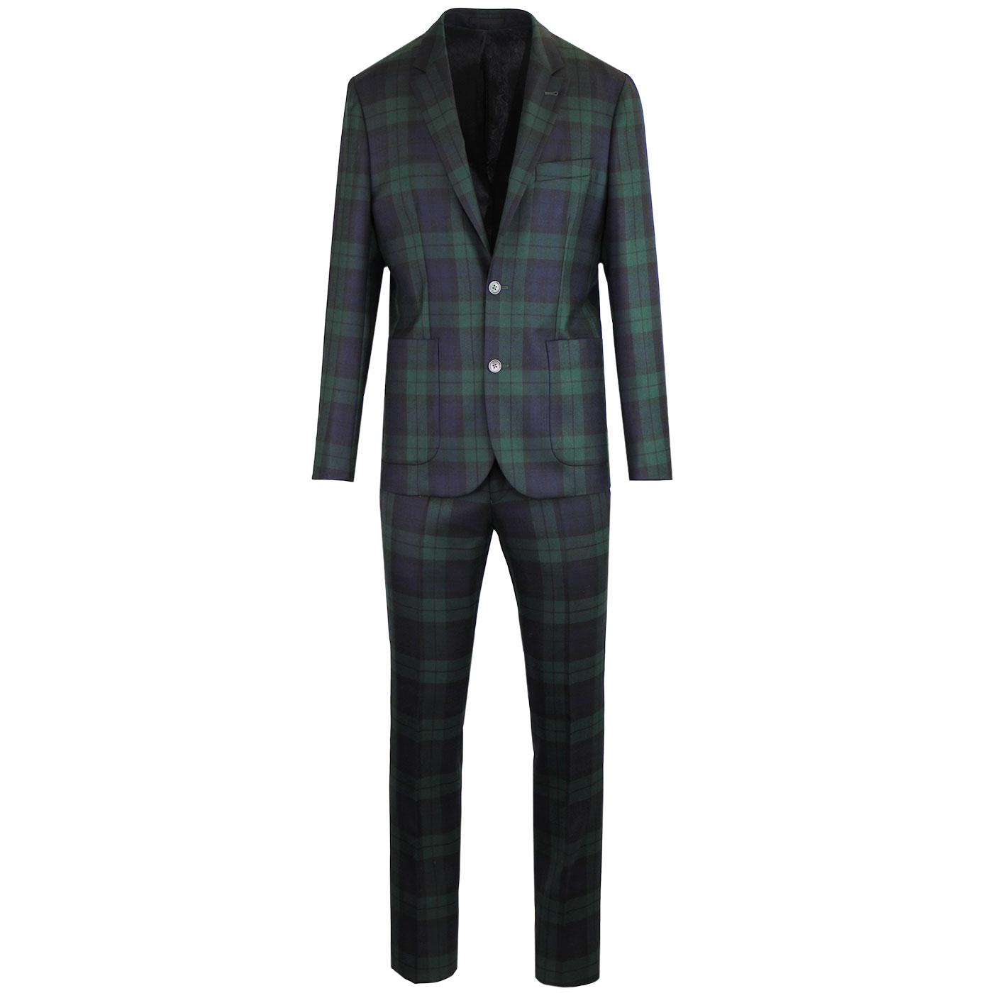 PRETTY GREEN Black Label Blackwatch Tartan Suit