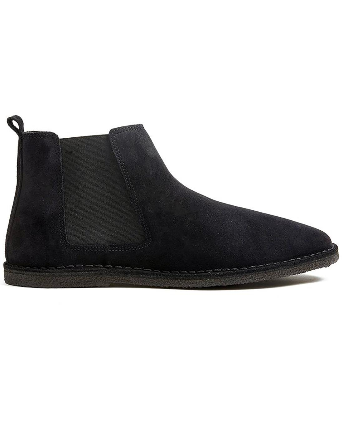 PRETTY GREEN Retro Mod Suede Chelsea Boots Black