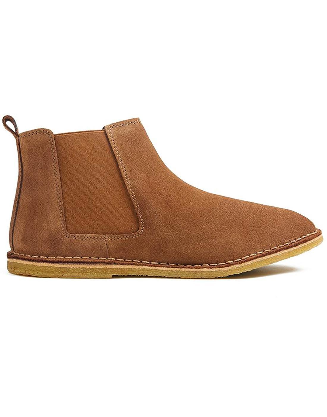 1bfed68e1cb3 PRETTY GREEN Retro Mod Suede Chelsea Boots in Dark Tan